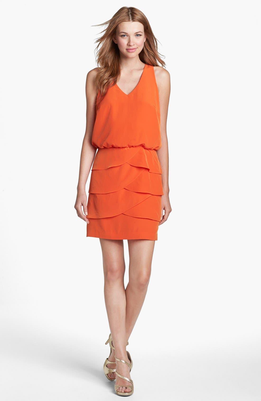 Main Image - Laundry by Shelli Segal Tiered Skirt Racerback Blouson Dress