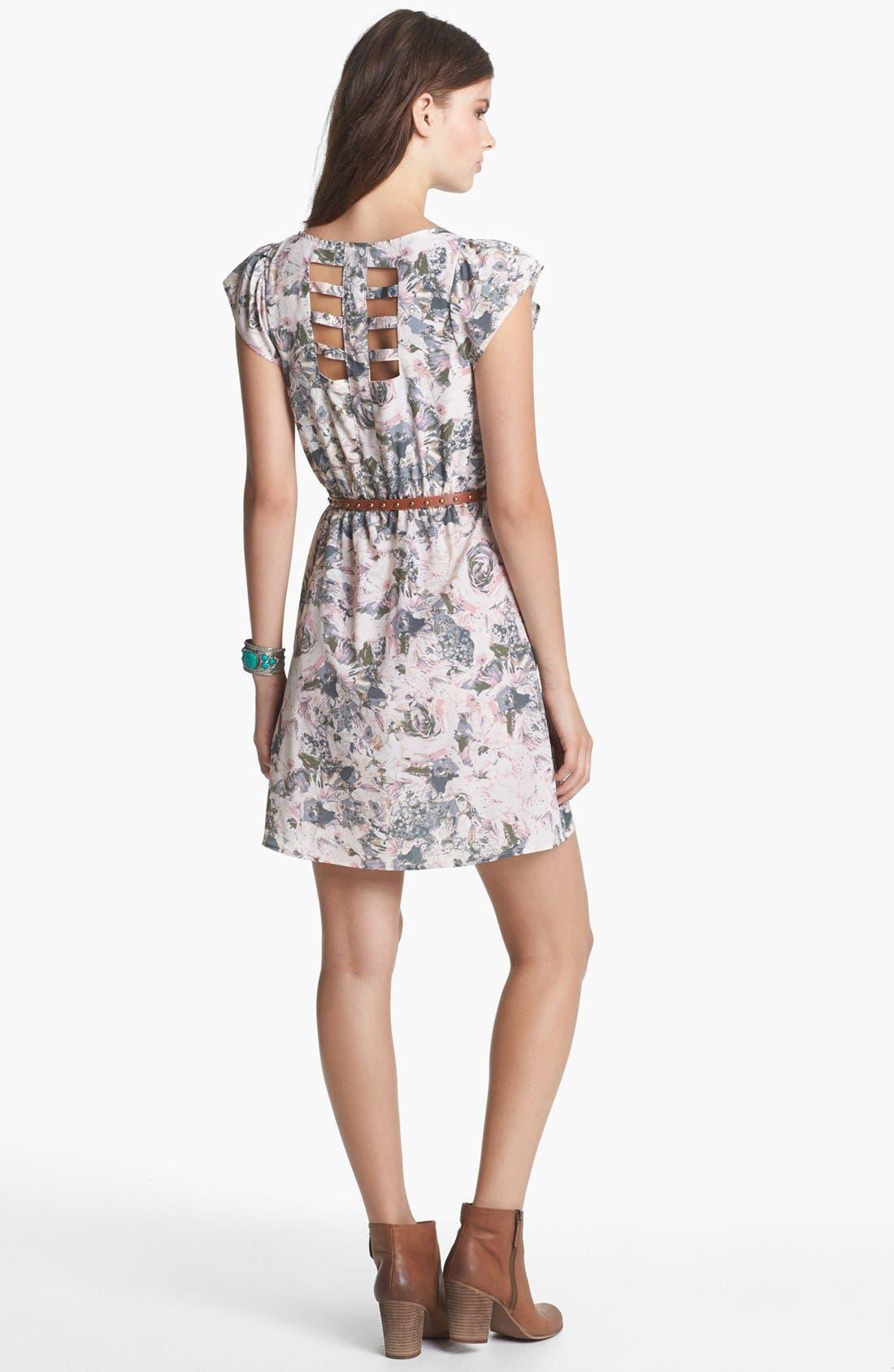 Alternate Image 2  - Socialite Cage Back Floral Print Dress (Juniors) (Online Only)