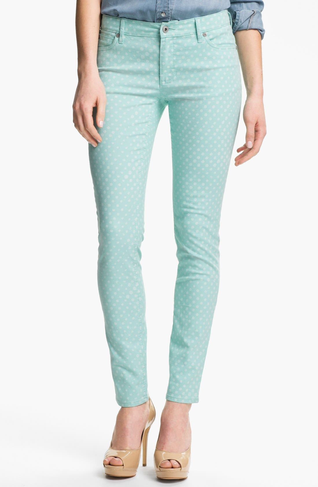 Main Image - Two by Vince Camuto Polka Dot Straight Leg Jeans (Petite)