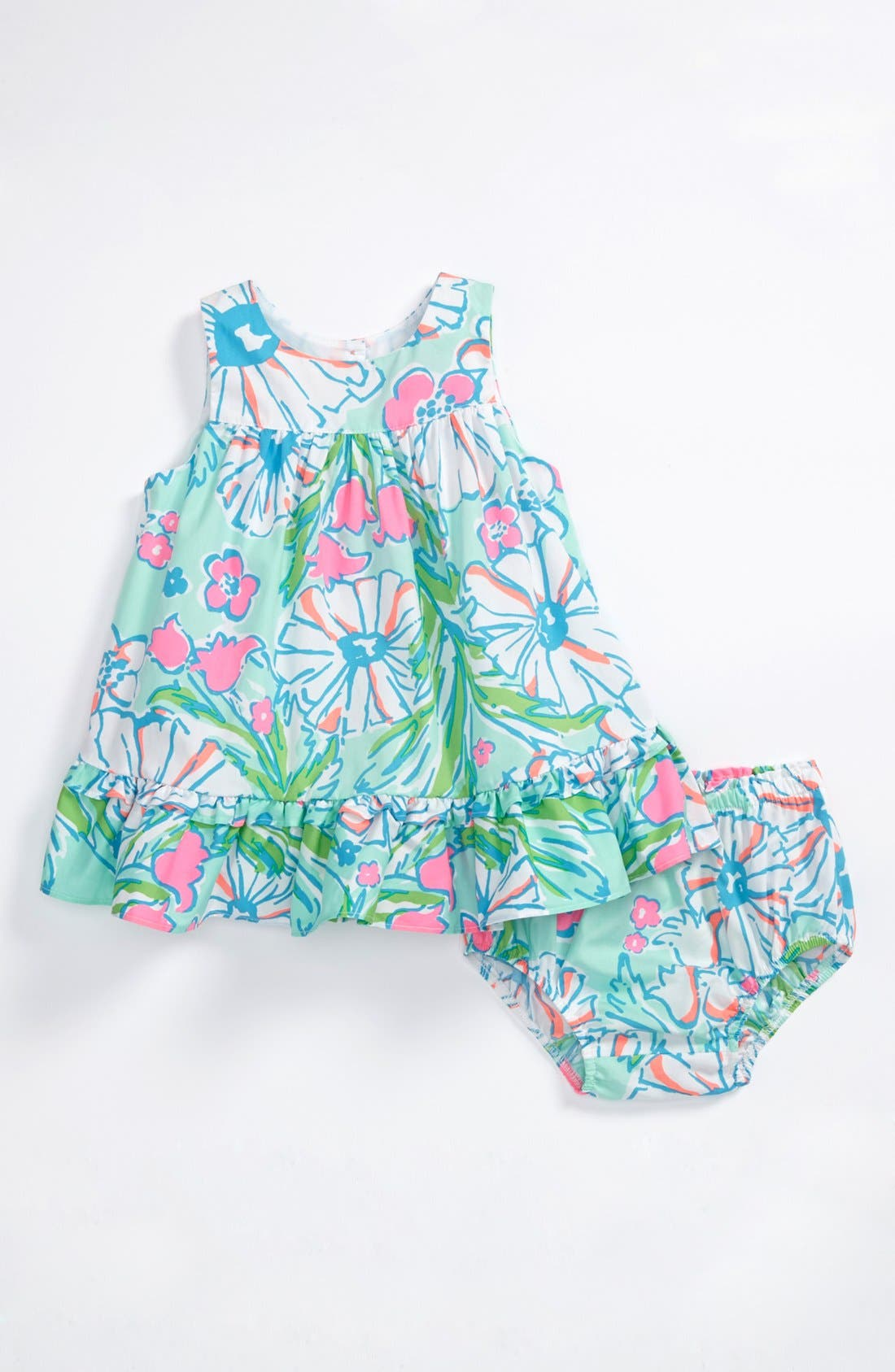 Main Image - Lilly Pulitzer® Dress & Bloomers, Hoy Shoe Salt-Water® Sandal (Baby Girls)