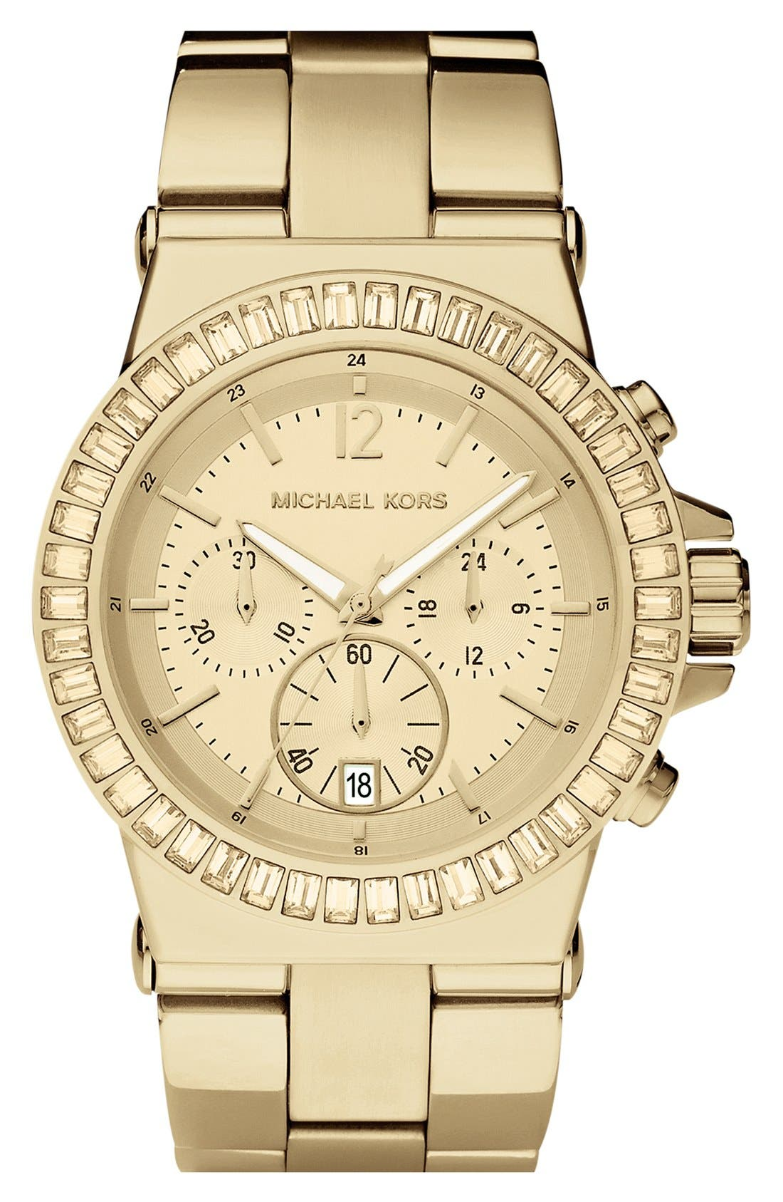 Michael Kors 'Dylan' Crystal Bezel Chronograph Watch, 43mm,                             Main thumbnail 1, color,                             Gold