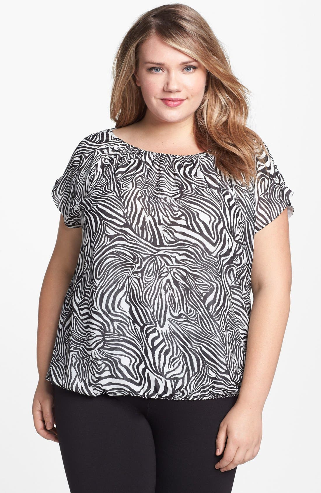 Alternate Image 1 Selected - Vince Camuto Zebra Print Blouse (Plus Size)