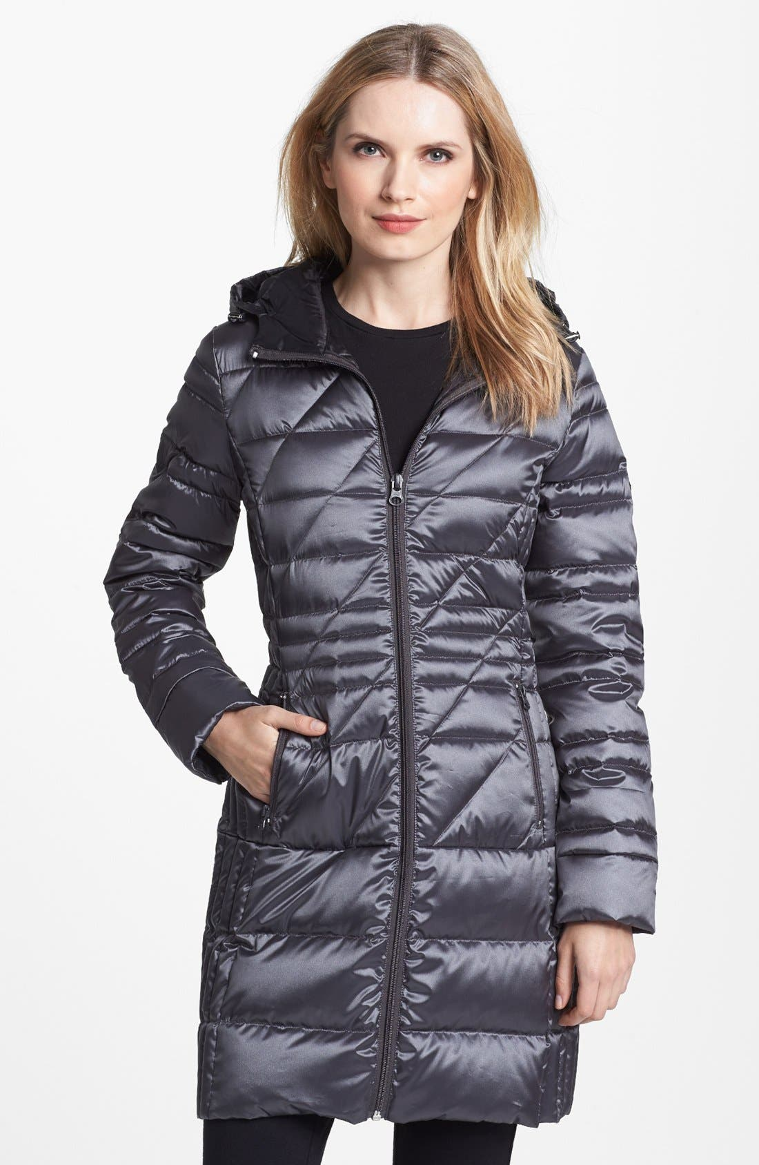 Main Image - Bernardo Hooded Packable Goose Down Walking Coat (Regular & Petite) (Nordstrom Exclusive)