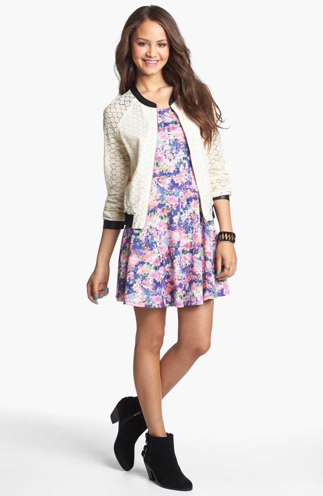 Alternate Image 3  - Soprano Back Cutout Print Skater Dress (Juniors)