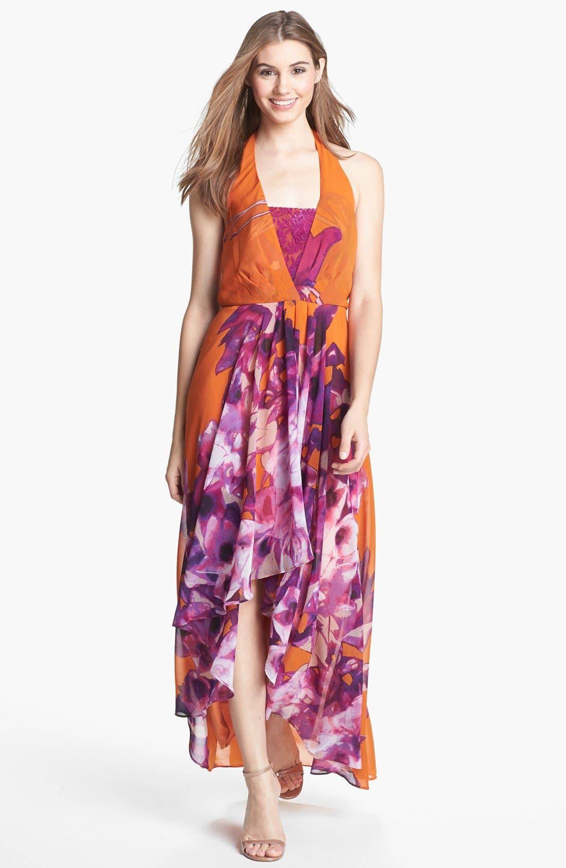 Alternate Image 1 Selected - Jessica Simpson Lace Inset Chiffon Maxi Dress