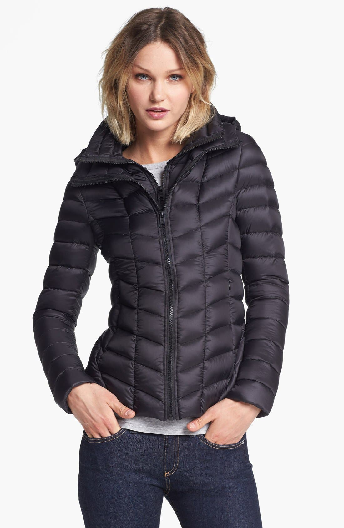 Alternate Image 1 Selected - Soia & Kyo Hooded Packable Down Jacket with Front Insert