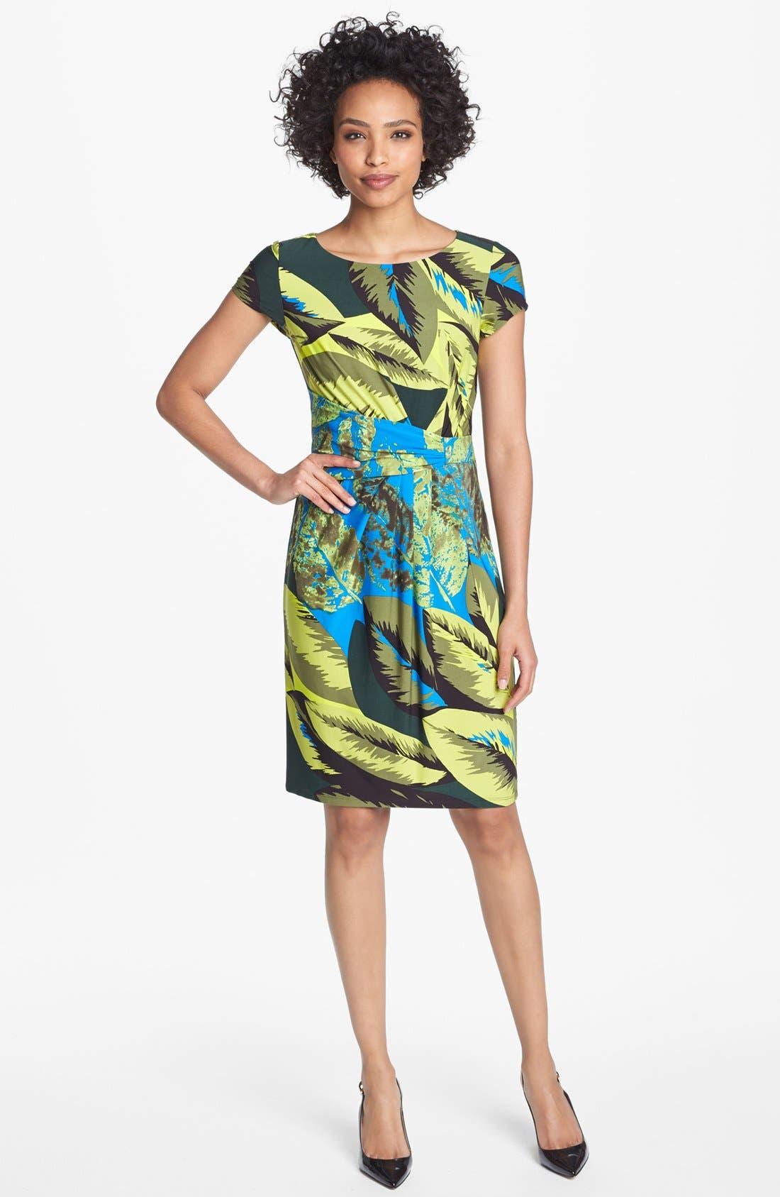 Alternate Image 1 Selected - Ellen Tracy Print Jersey Sheath Dress