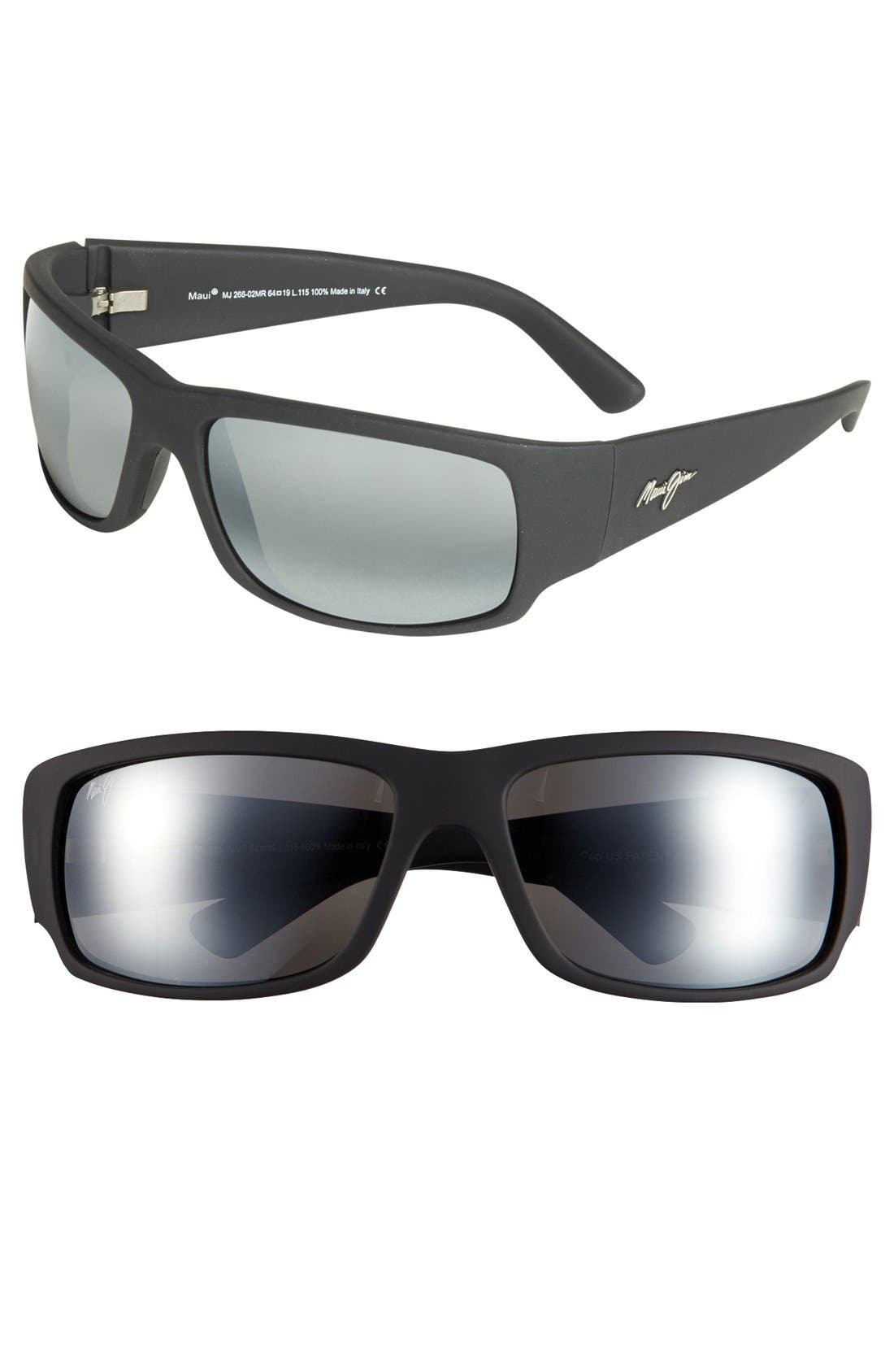 'World Cup - PolarizedPlus<sup>®</sup>2' 64mm Sunglasses,                             Main thumbnail 1, color,                             Matte Black