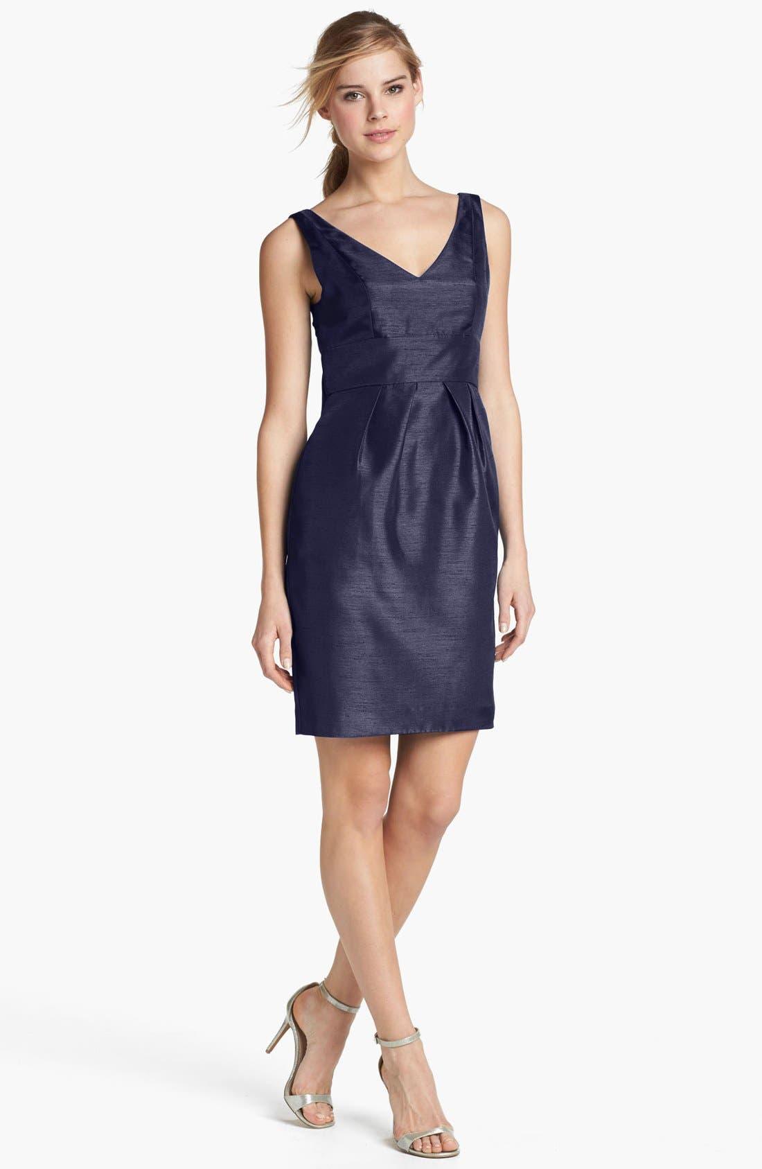 Alternate Image 1 Selected - Jenny Yoo 'Cadie' Bow Detail Shantung Sheath Dress