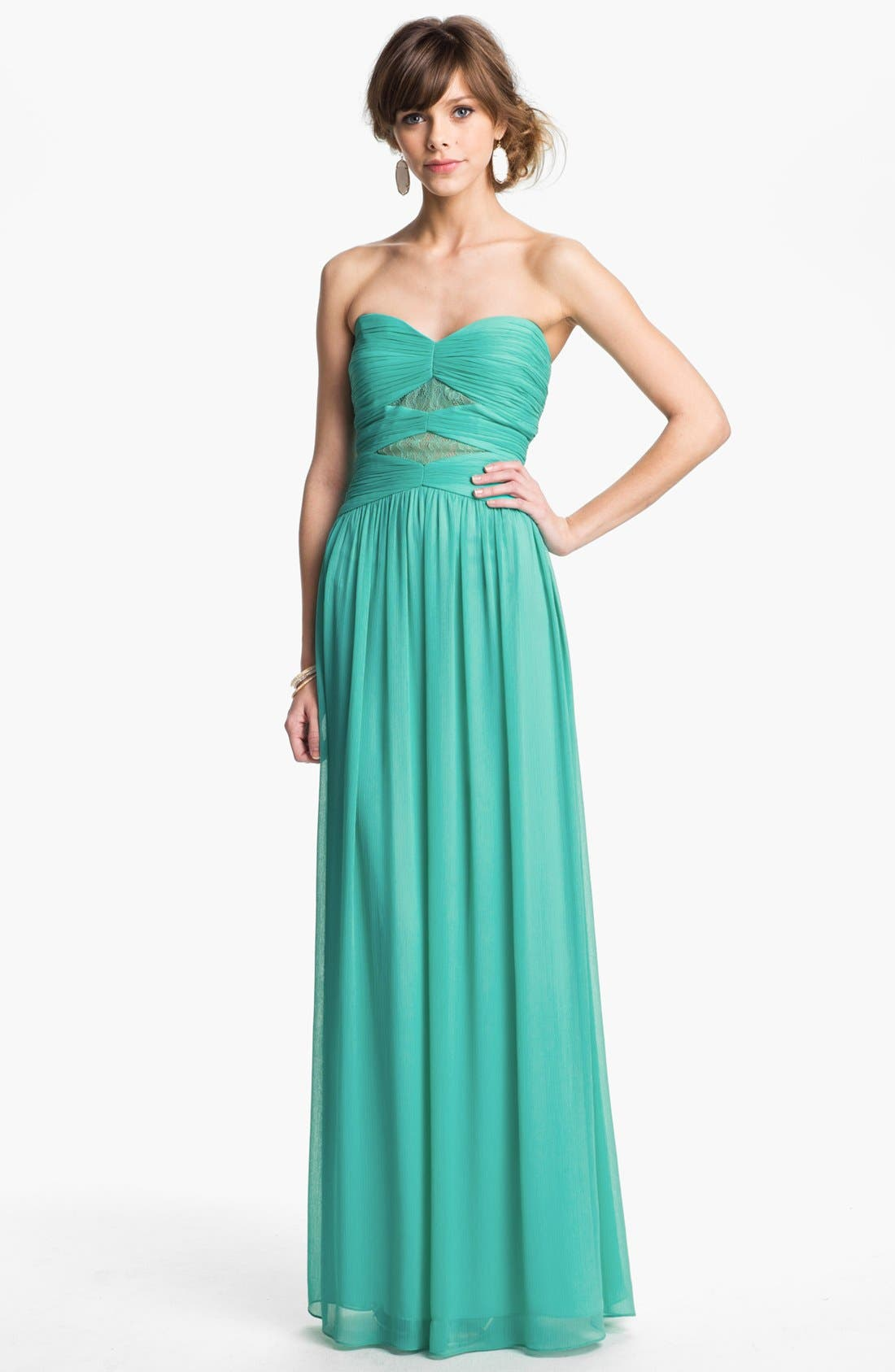 Main Image - Max & Cleo Lace Detail Crinkled Chiffon Gown