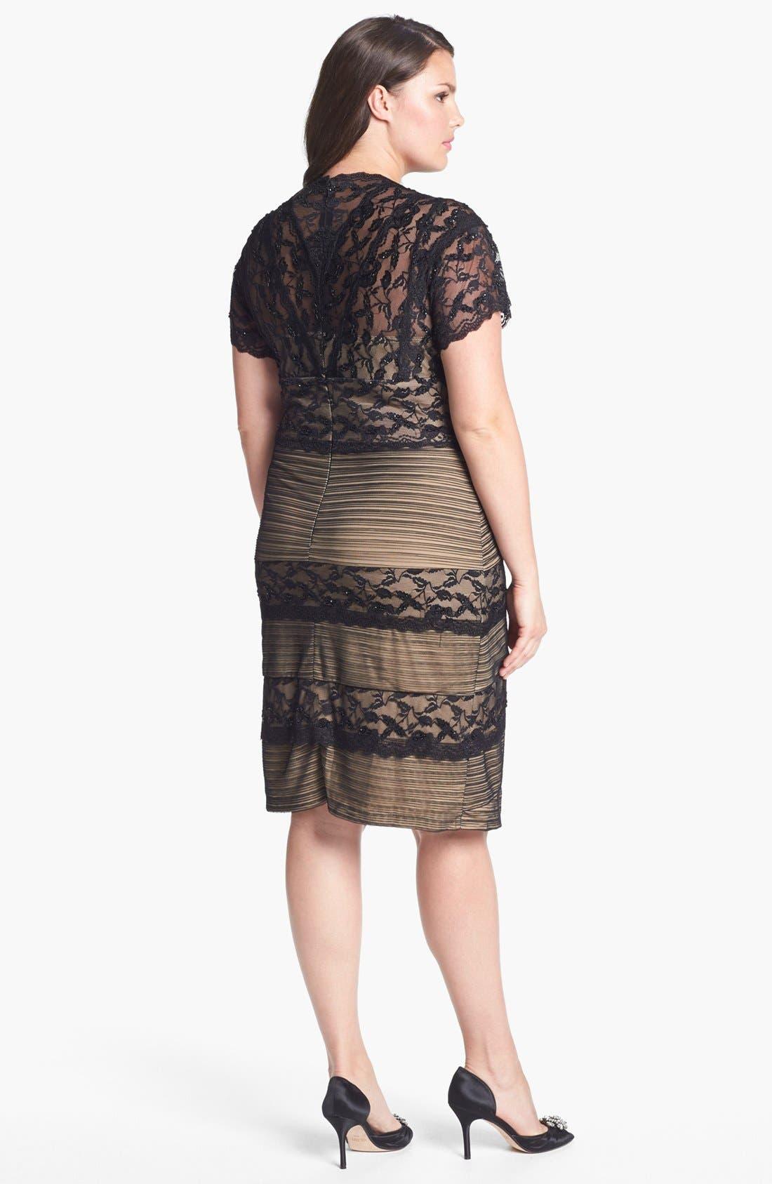 Alternate Image 2  - MARINA Mixed Lace Sheath Dress (Plus Size)