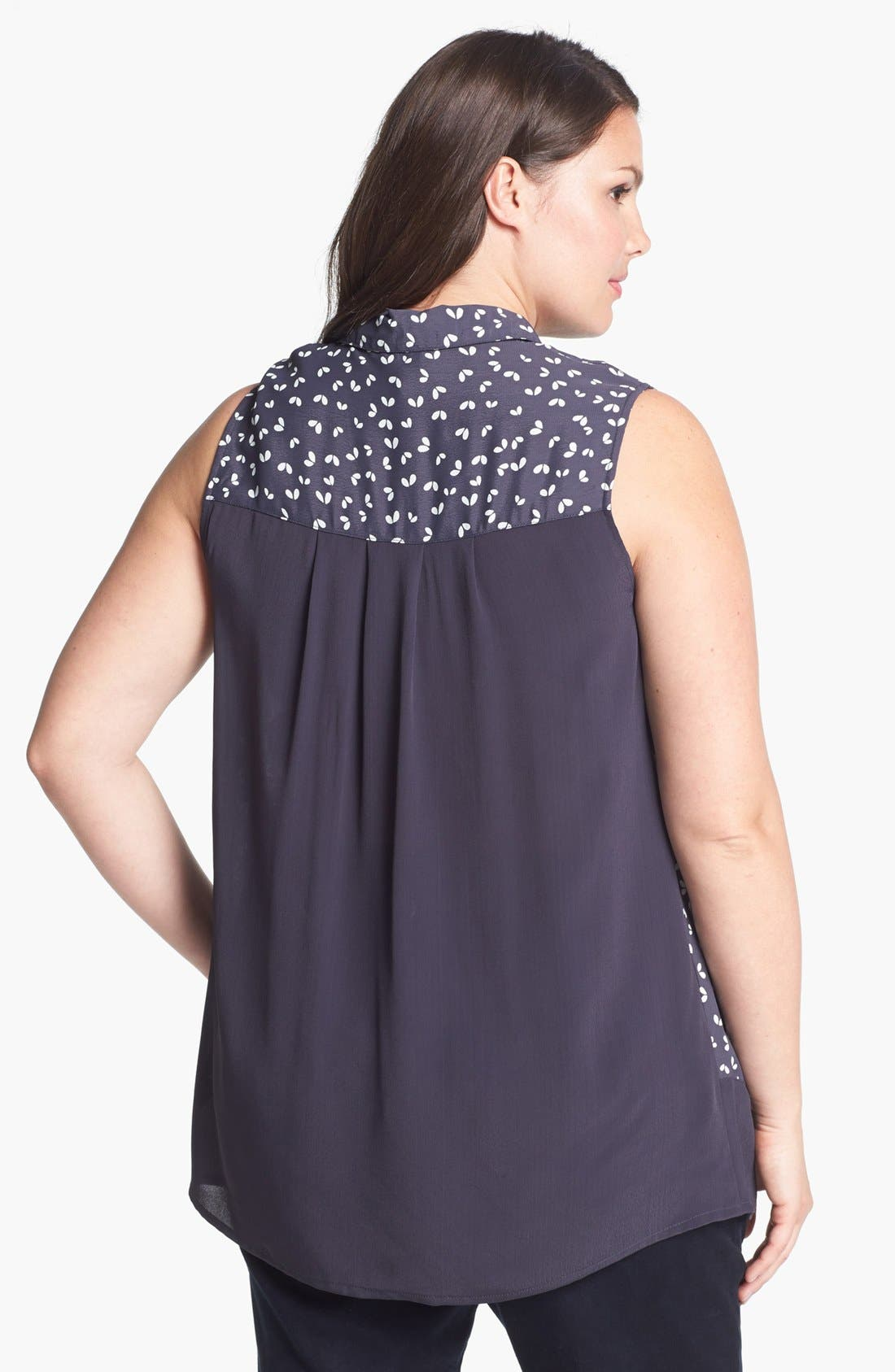 Alternate Image 2  - Evans Print High/Low Blouse (Plus Size)