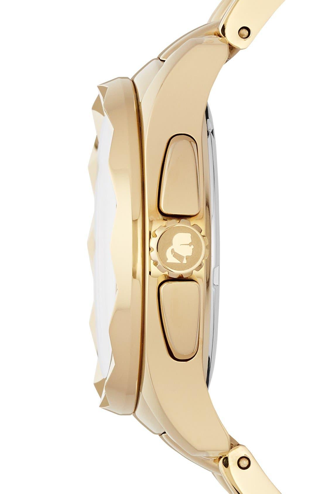 Alternate Image 3  - KARL LAGERFELD '7' Faceted Bezel Bracelet Watch, 36mm