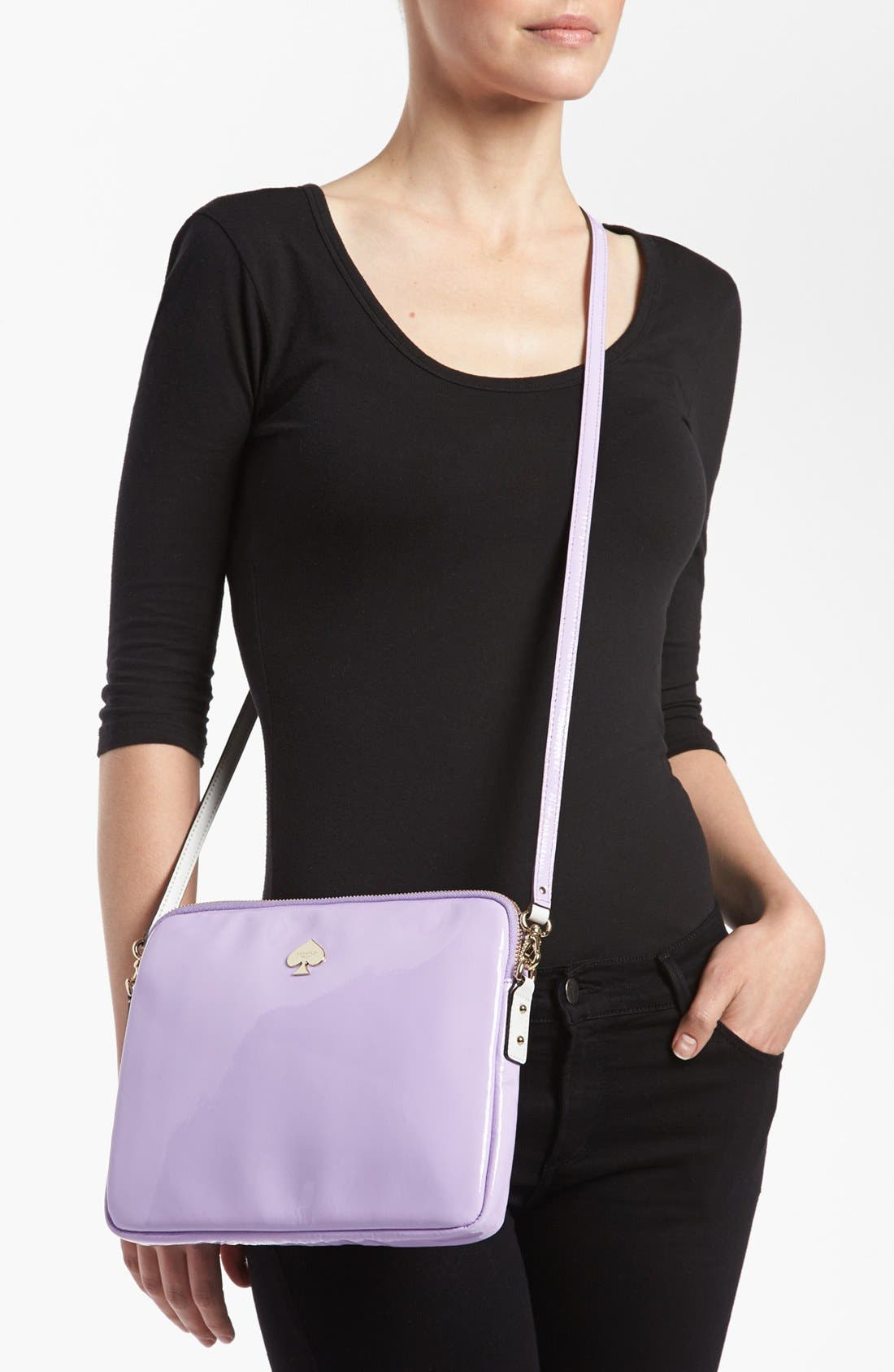 Alternate Image 2  - kate spade new york 'bryce - flicker' patent leather iPad crossbody bag