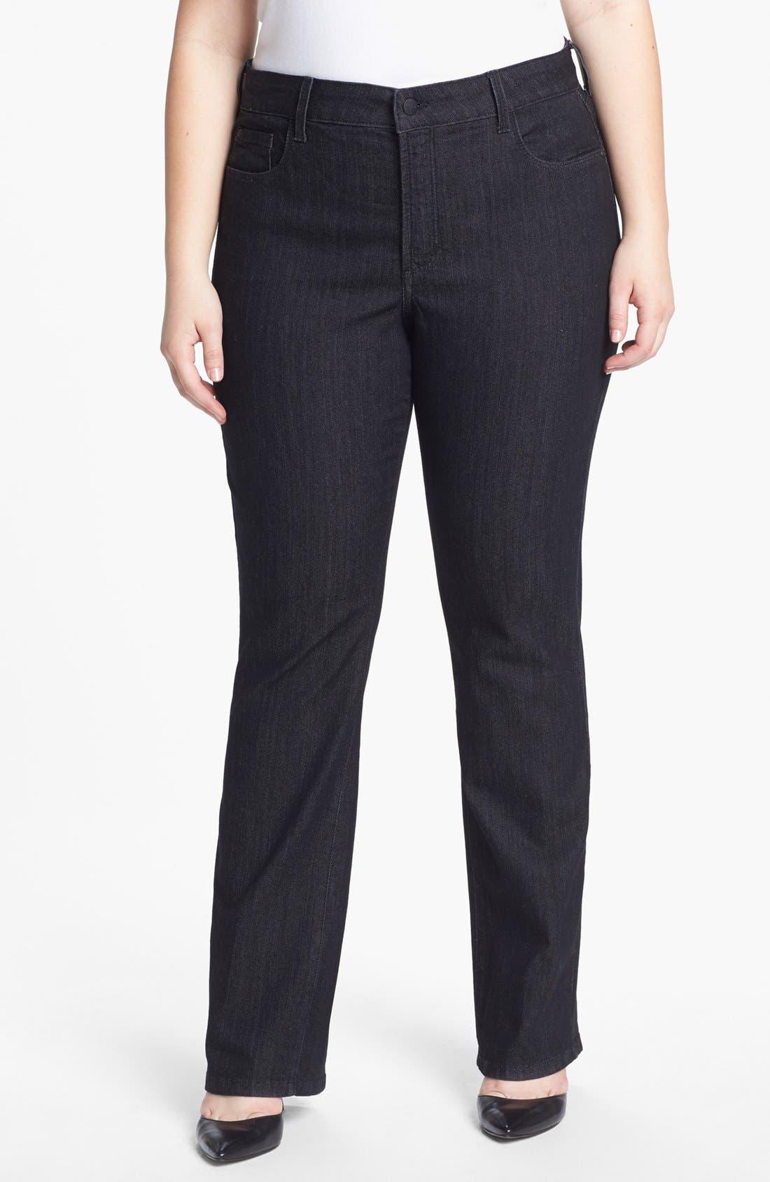 Alternate Image 2  - NYDJ 'Marilyn' Faux Leather Detail Straight Leg Jeans (Plus Size)