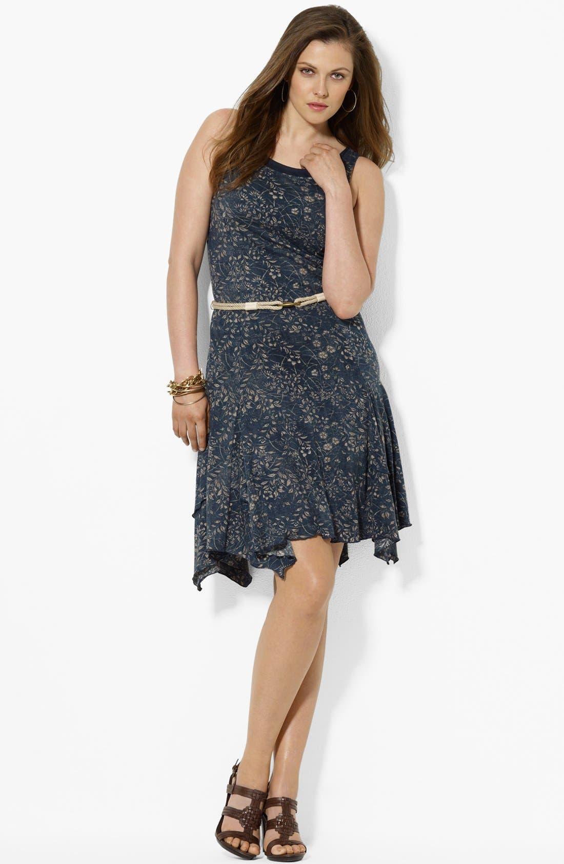 Alternate Image 1 Selected - Lauren Ralph Lauren Print Cotton Tank Dress (Plus Size)