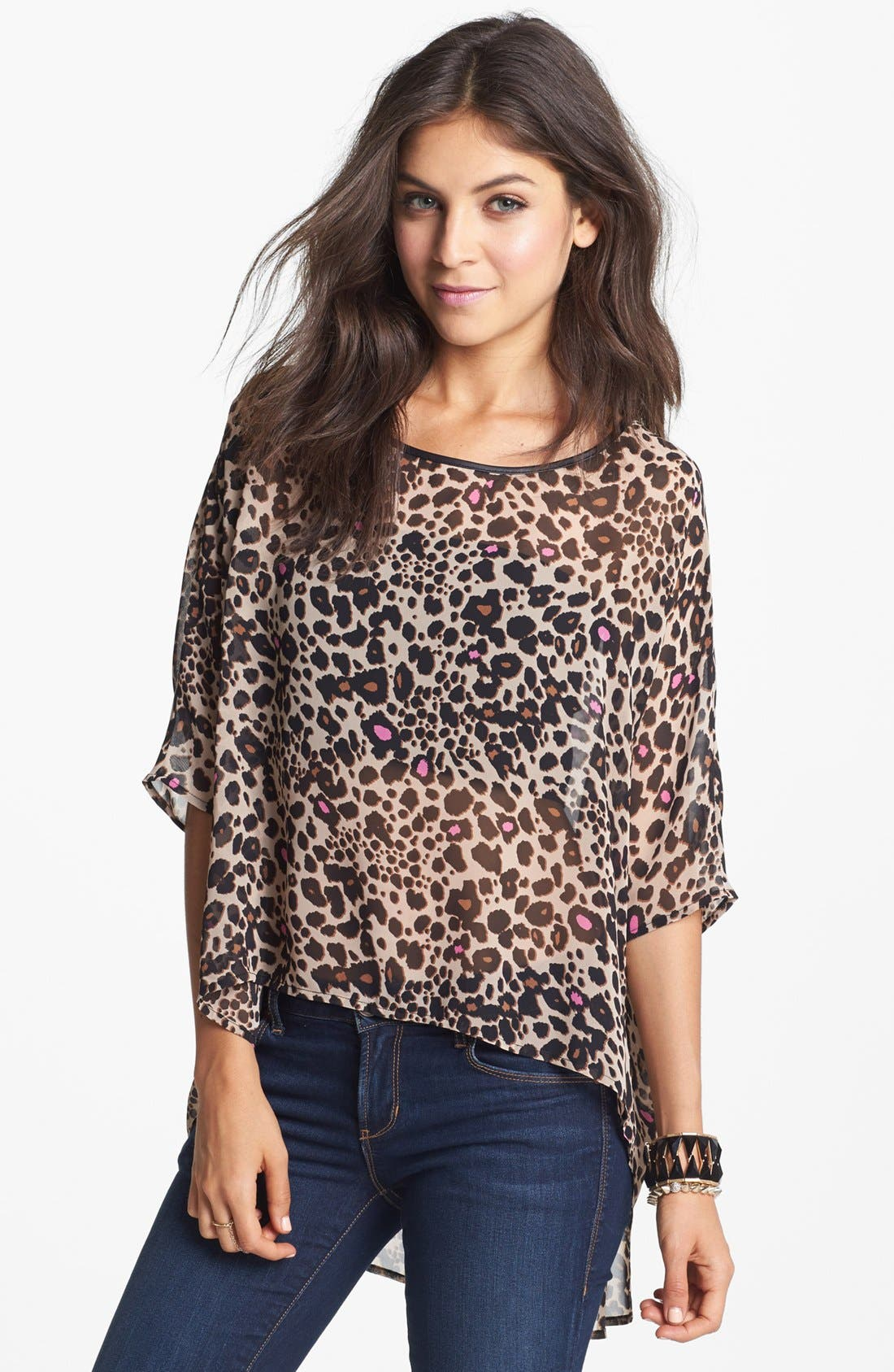 Alternate Image 1 Selected - BCNU Oversized Print Chiffon Tee (Juniors)
