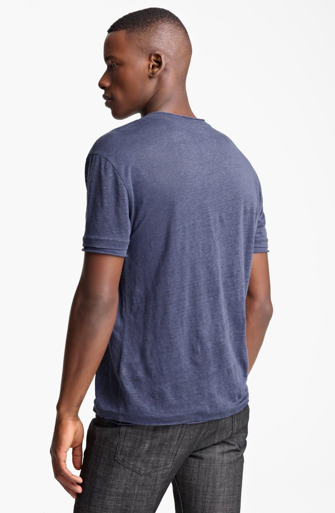 Alternate Image 2  - John Varvatos Collection Linen V-Neck T-Shirt