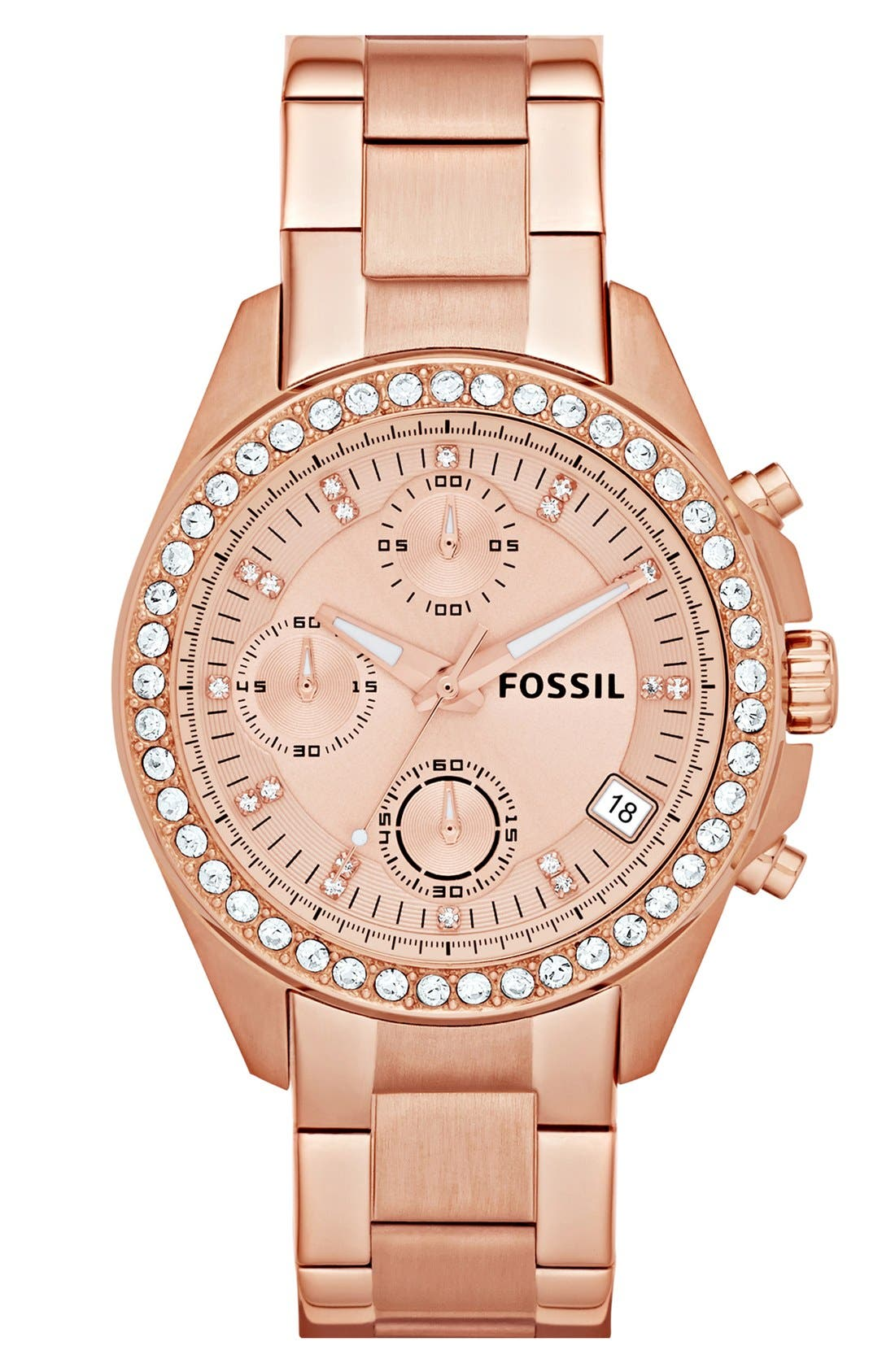 Main Image - Fossil Crystal Topring Watch, 38mm