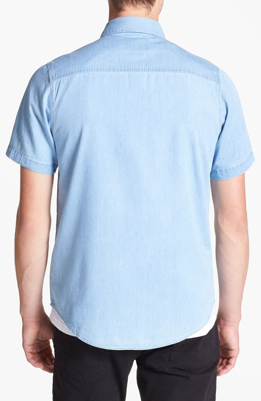 Alternate Image 2  - Topman Short Sleeve Denim Shirt