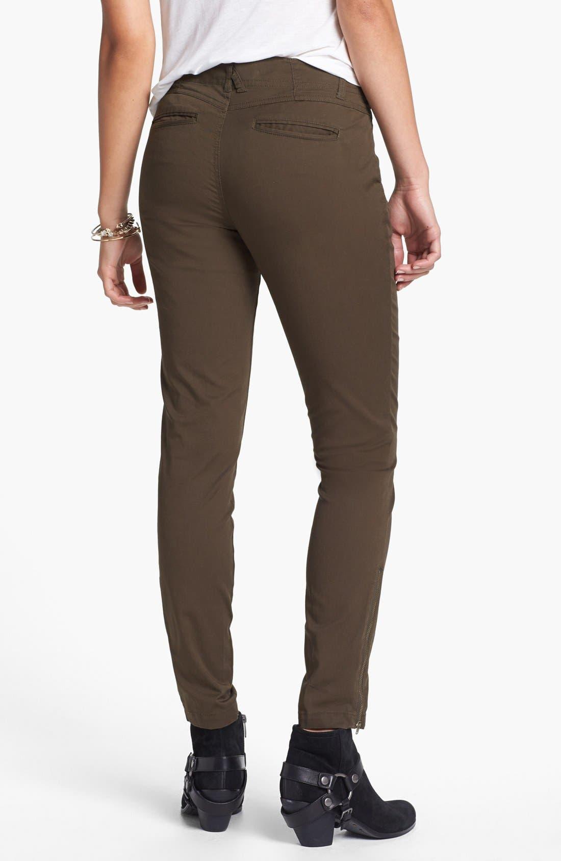 Alternate Image 2  - Jolt Zipper Detail Twill Pants (Juniors)