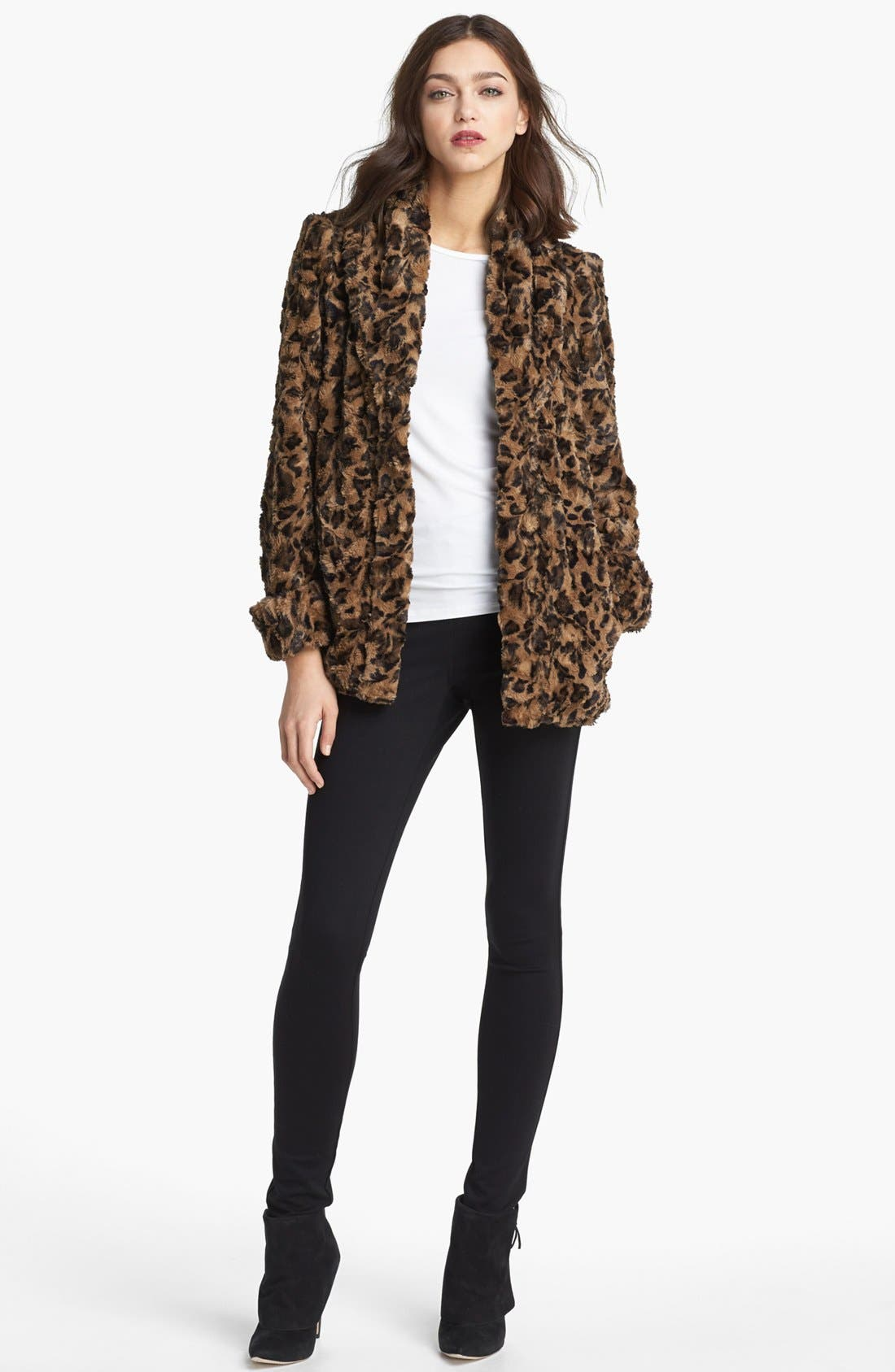 Alternate Image 2  - Alice + Olivia Leopard Print Faux Fur Jacket