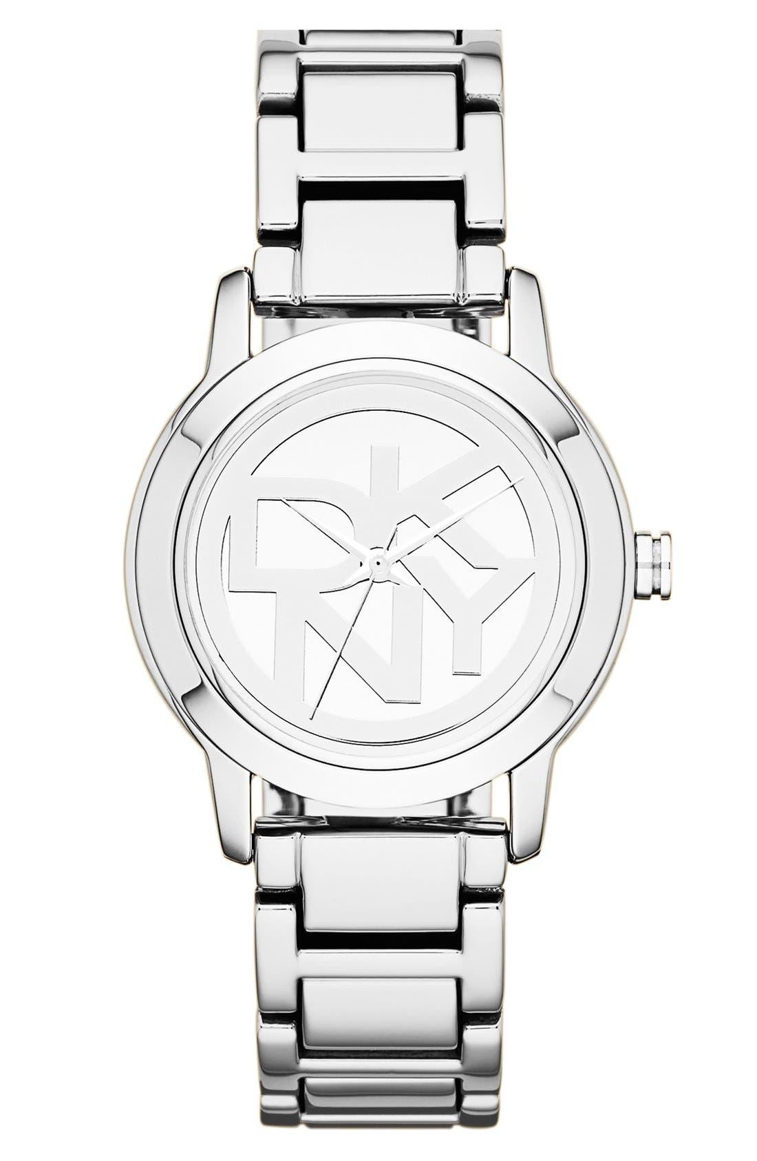 Main Image - DKNY 'Tompkins' Round Logo Dial Bracelet Watch, 32mm