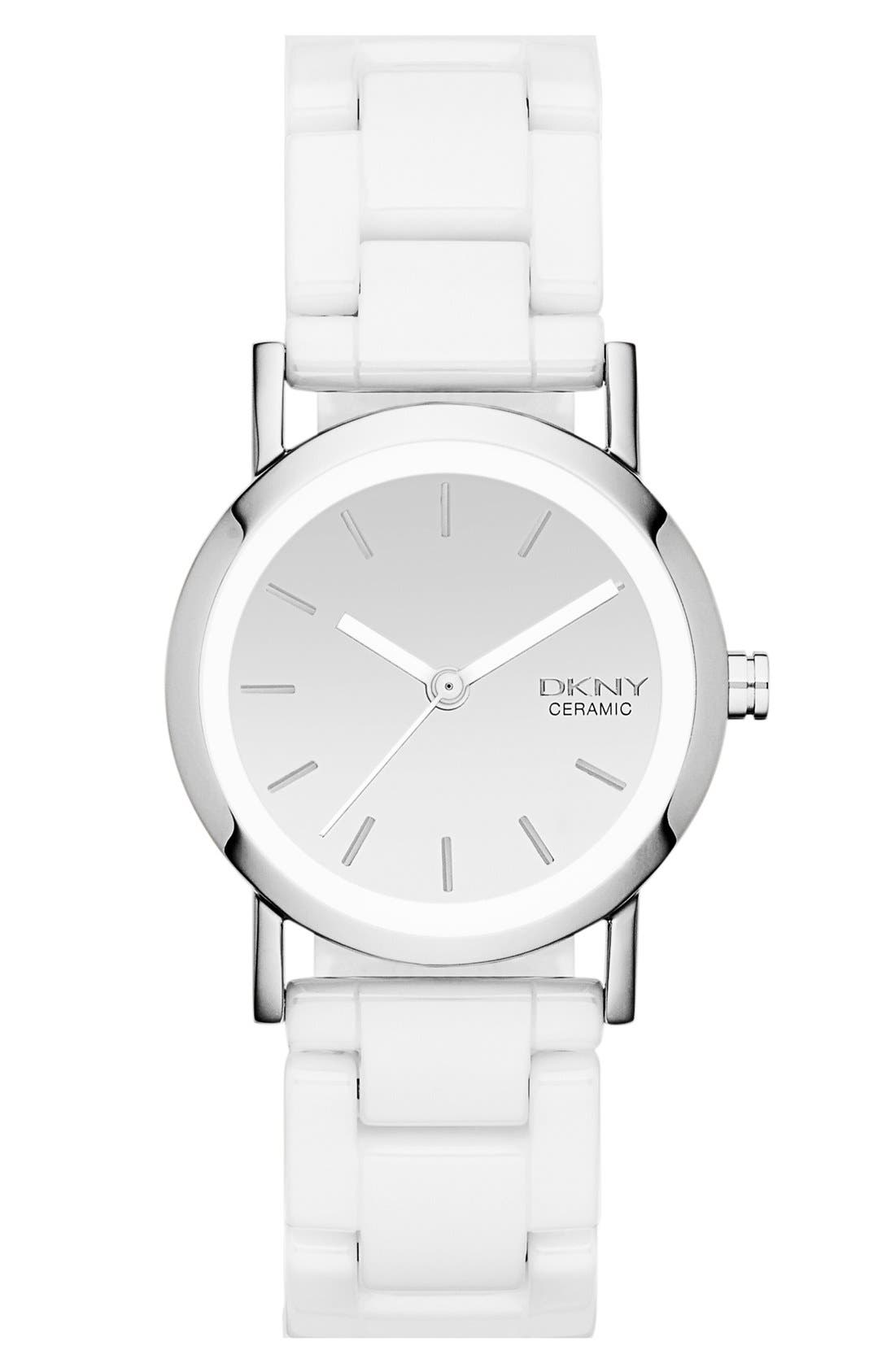 Alternate Image 1 Selected - DKNY 'Chambers' Mirror Dial Ceramic Bracelet Watch, 28mm