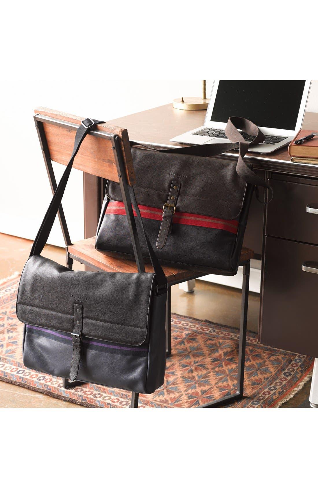 Alternate Image 2  - Ted Baker London 'Stripe Webbing' Faux Leather Messenger Bag