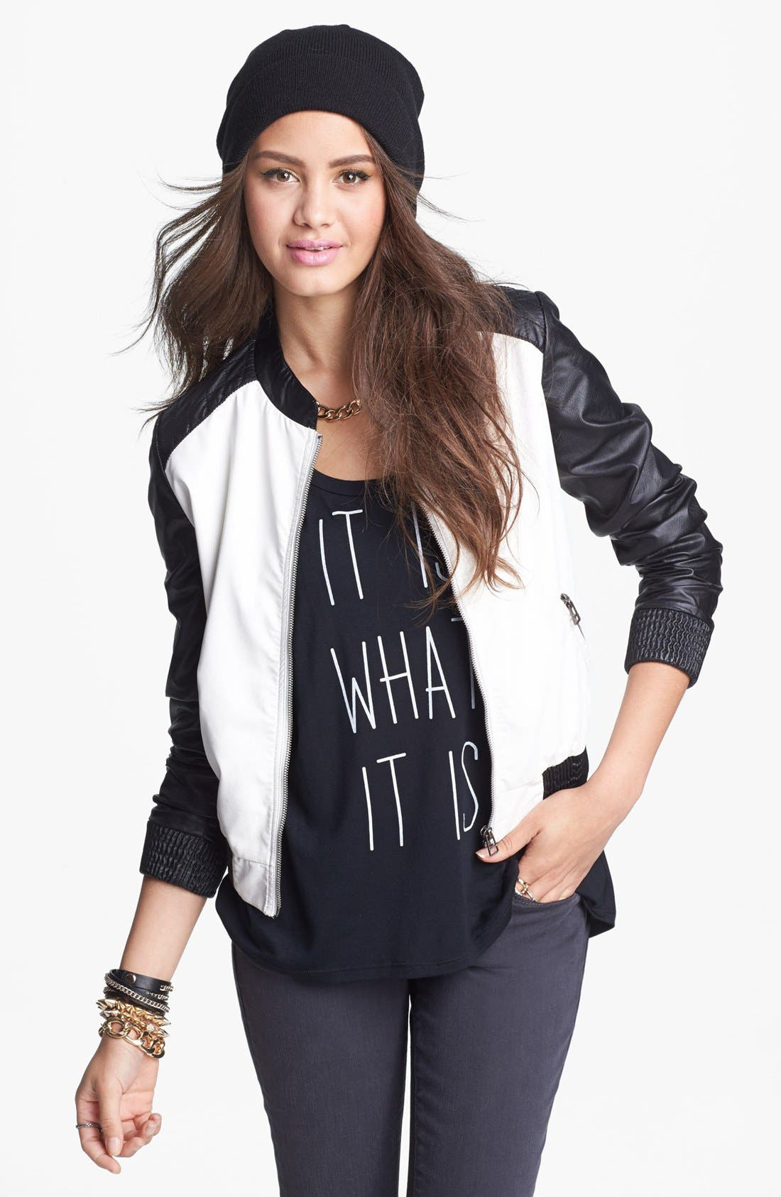 Alternate Image 1 Selected - Jolt Faux Leather Colorblock Jacket (Juniors)