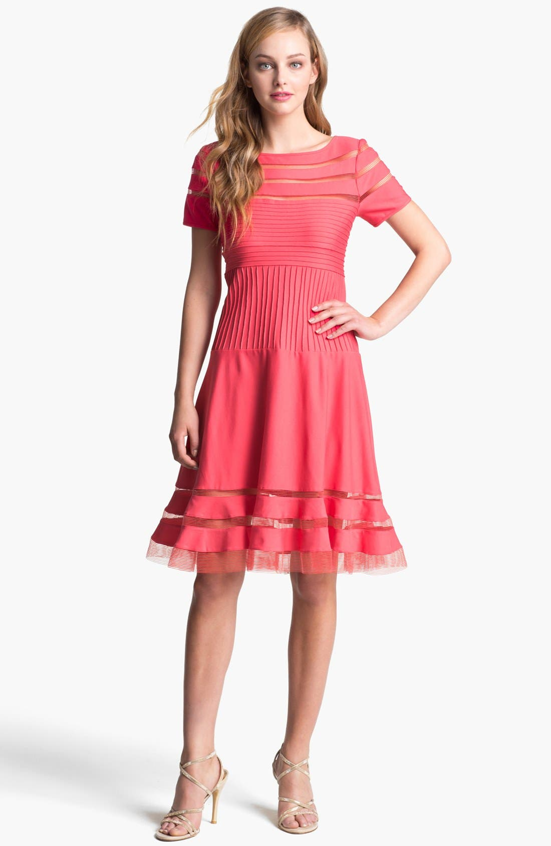 Alternate Image 1 Selected - Tadashi Shoji Mesh Stripe Short Sleeve Fit & Flare Dress