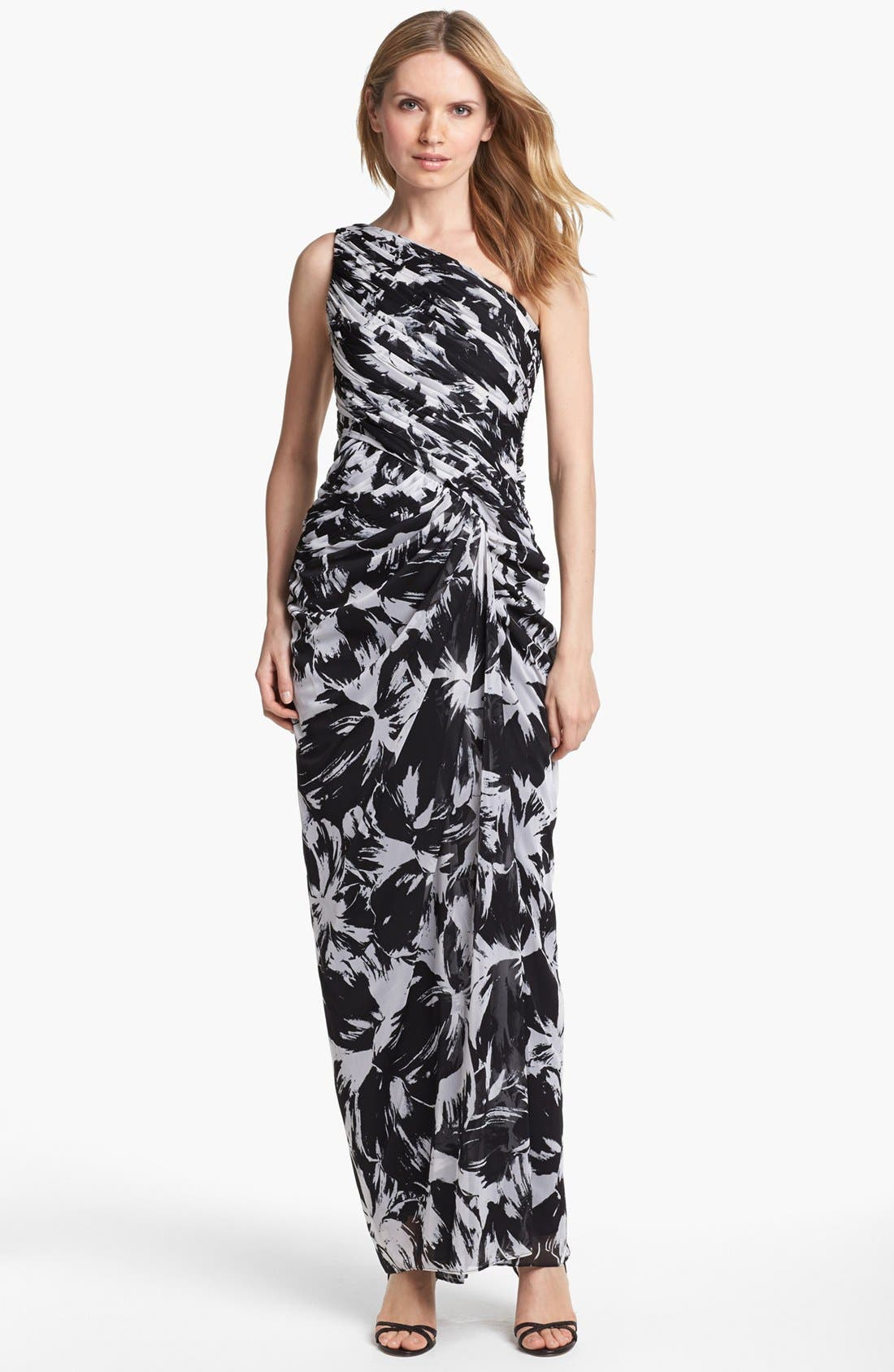 Alternate Image 1 Selected - Adrianna Papell One Shoulder Print Chiffon Gown (Petite)
