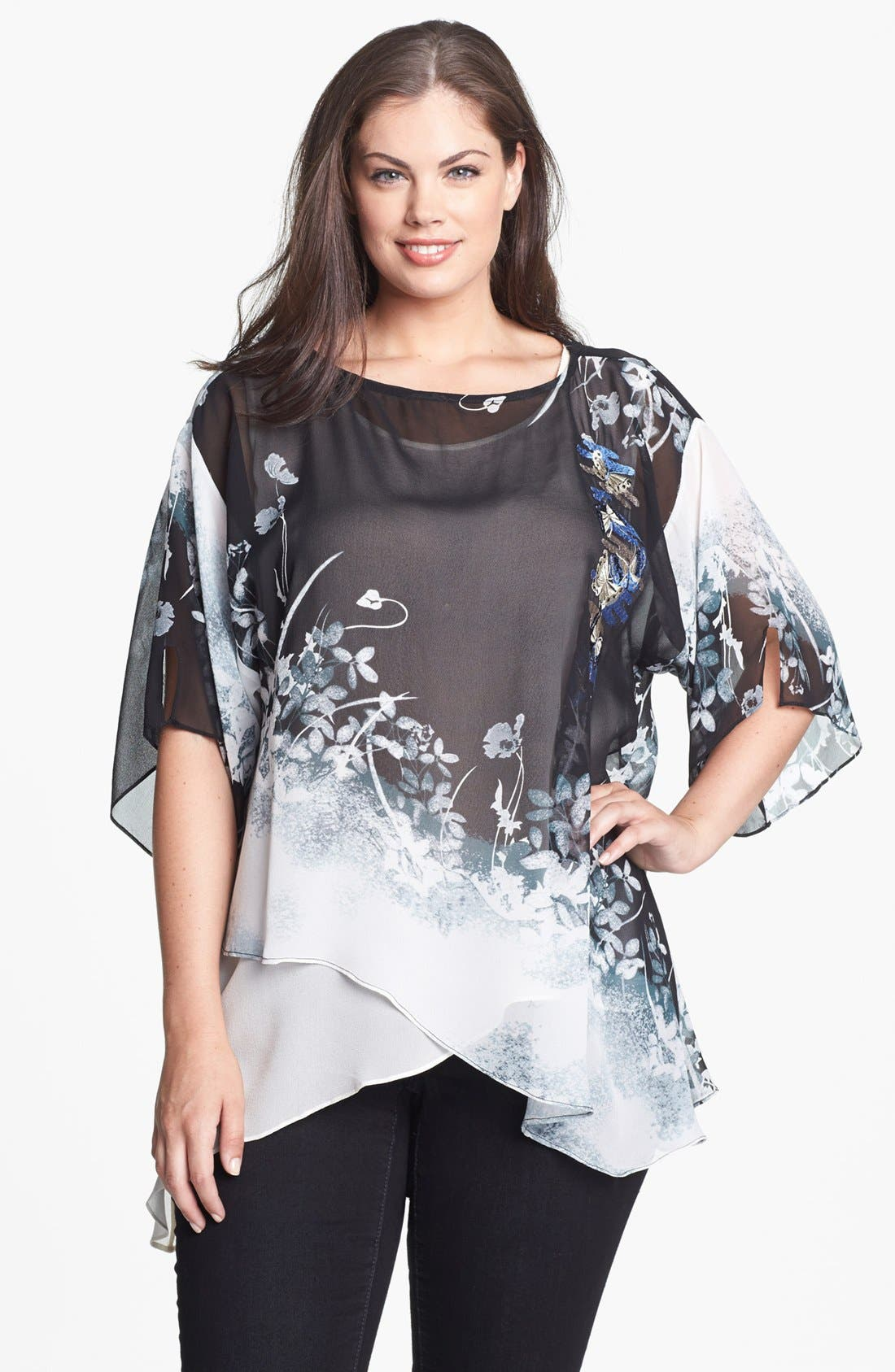 Main Image - Citron Print Asymmetrical Silk Tunic (Plus Size)