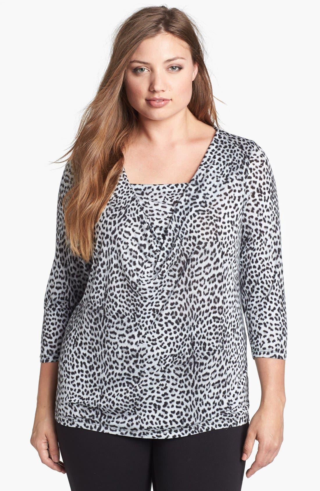 Main Image - MICHAEL Michael Kors Leopard Print Drape Neck Top (Plus Size)
