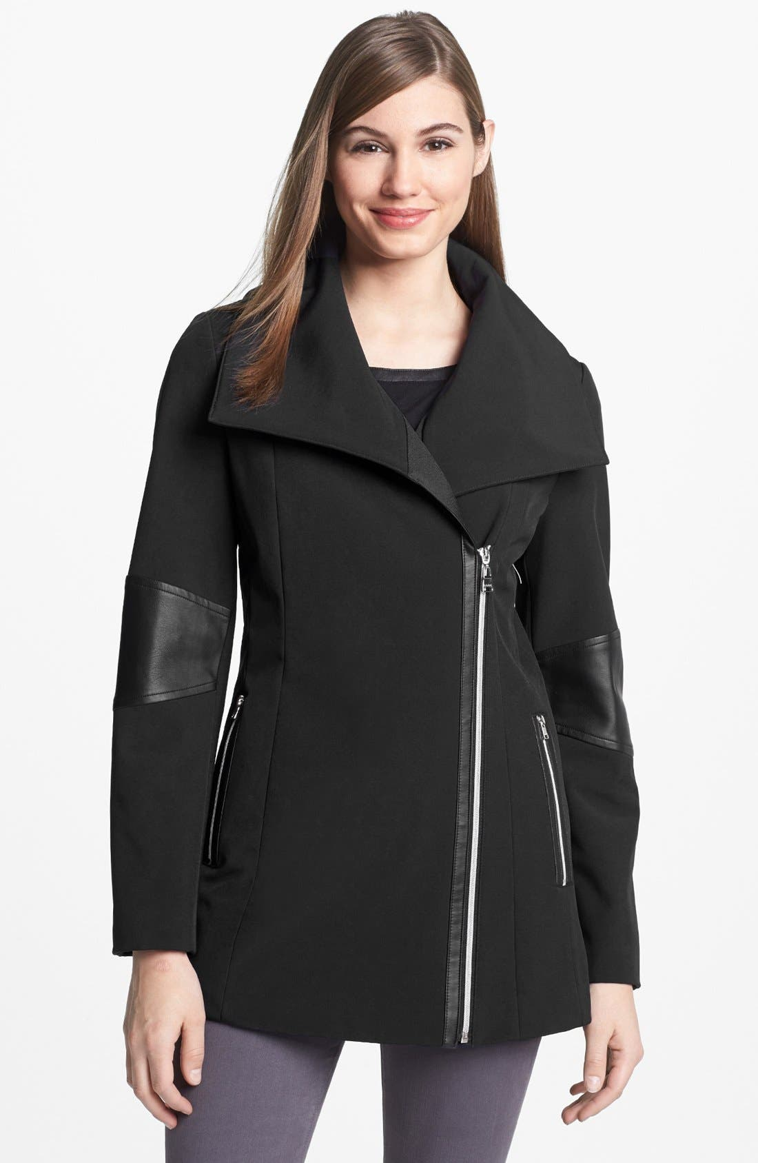 Alternate Image 1 Selected - Calvin Klein Asymmetrical Zip Faux Leather Trim Soft Shell Coat