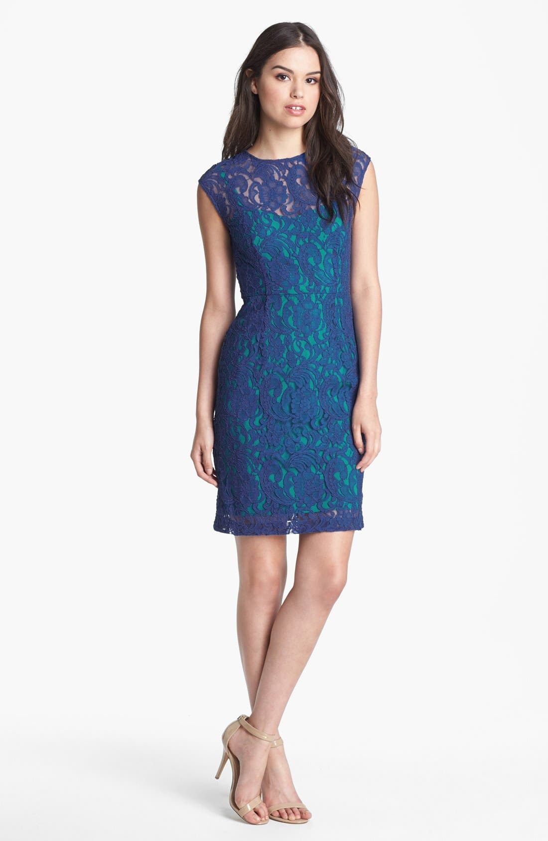 Alternate Image 2  - Ivy & Blu Cap Sleeve Lace Dress