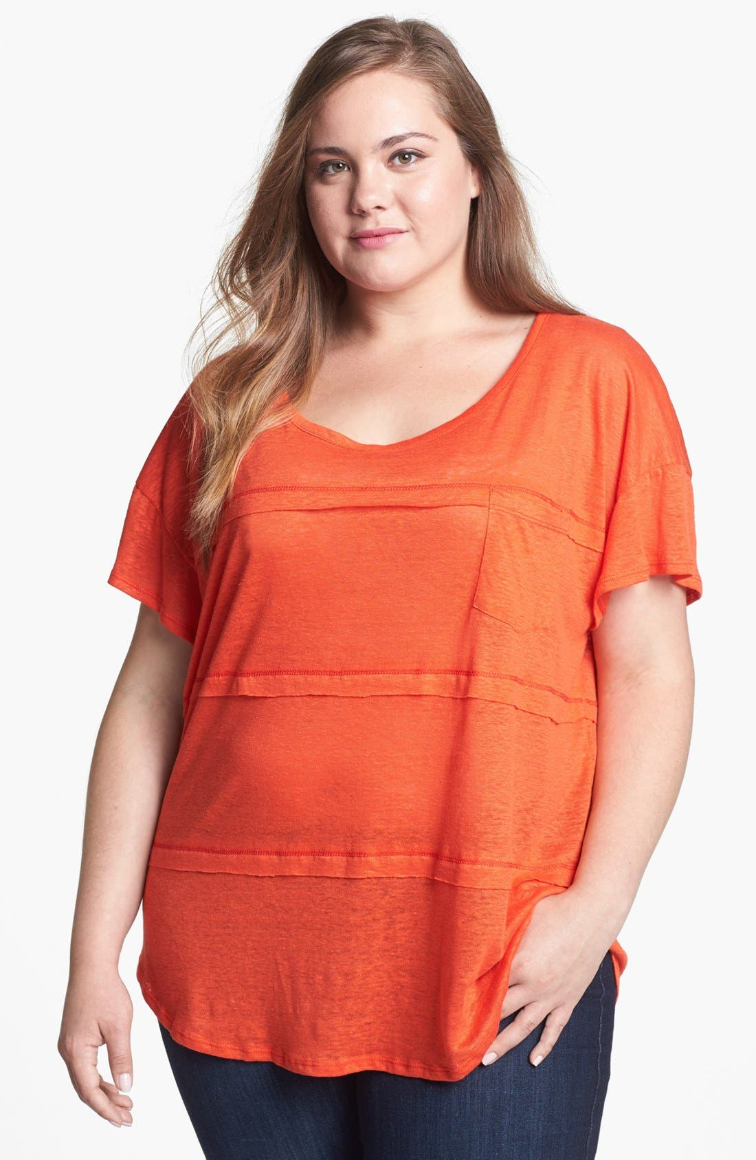 Alternate Image 1 Selected - Olivia Moon Tiered Linen Tee (Plus Size)