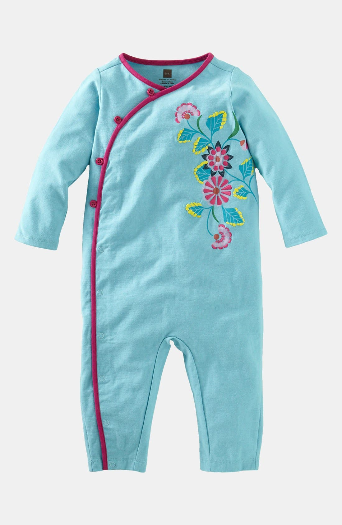 Alternate Image 1 Selected - Tea Collection Floral Wrap Romper (Baby Girl)
