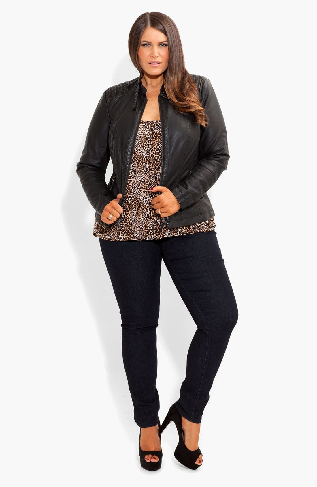 Alternate Image 3  - City Chic Faux Leather Biker Jacket (Plus Size)