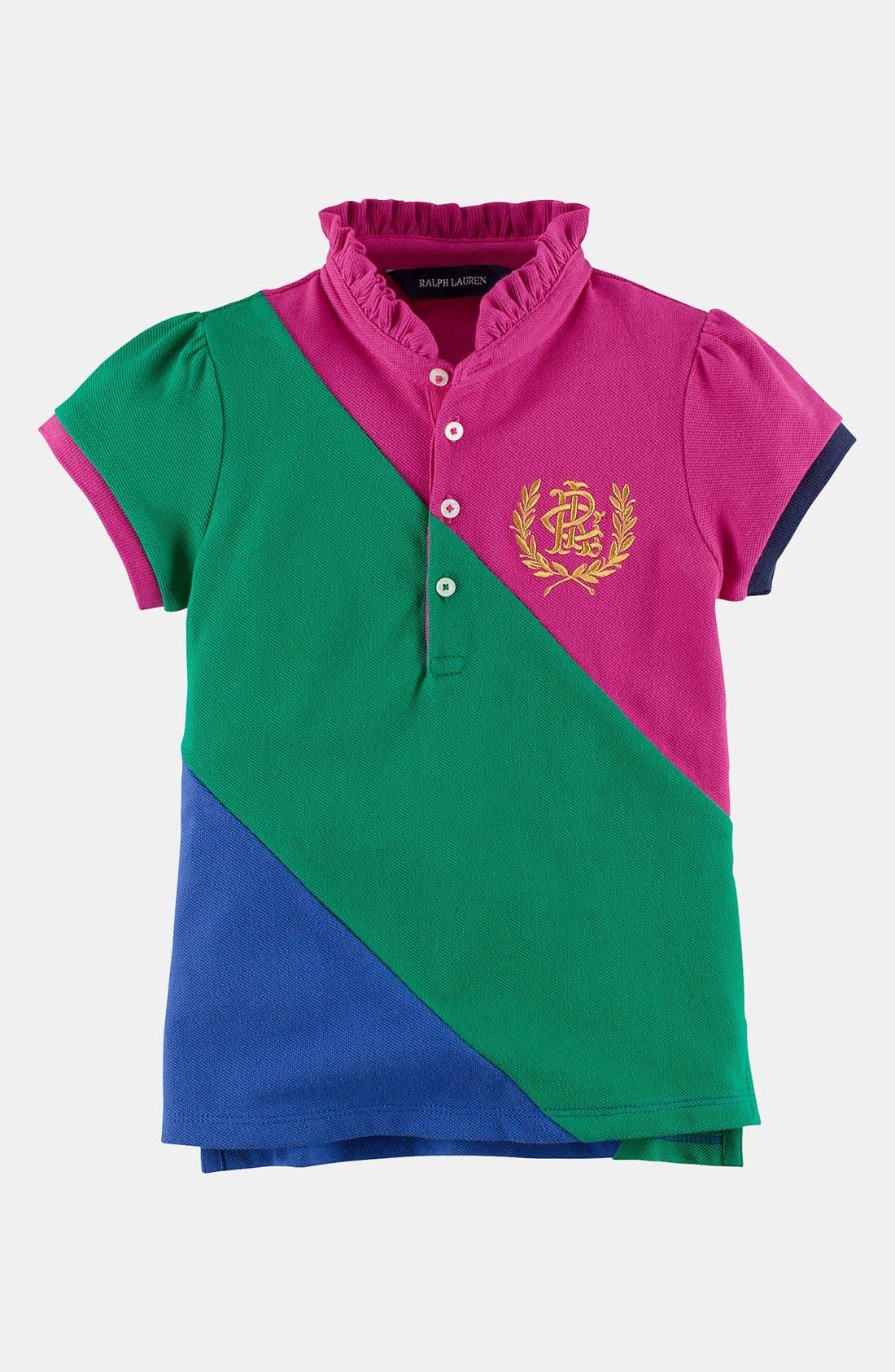 Alternate Image 1 Selected - Ralph Lauren Mesh Polo Shirt (Toddler Girls)