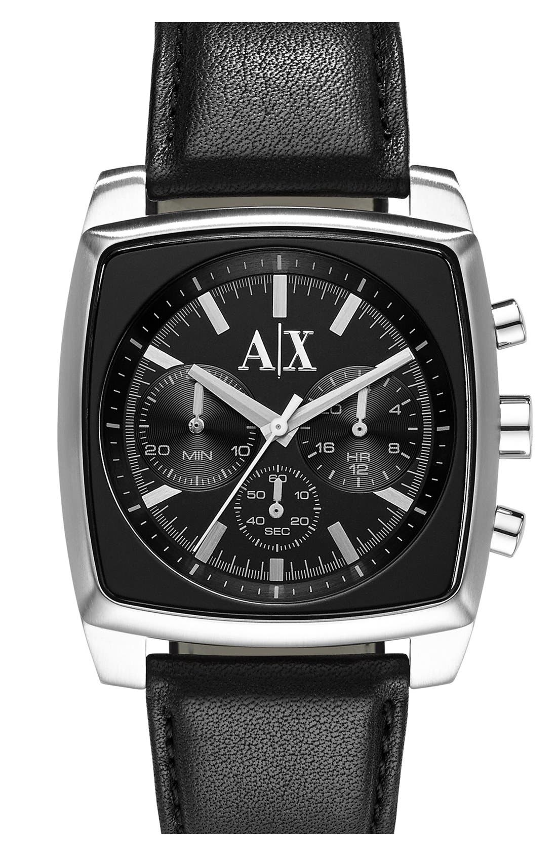Main Image - AX Armani Exchange Square Chronograph Leather Strap Watch, 40mm