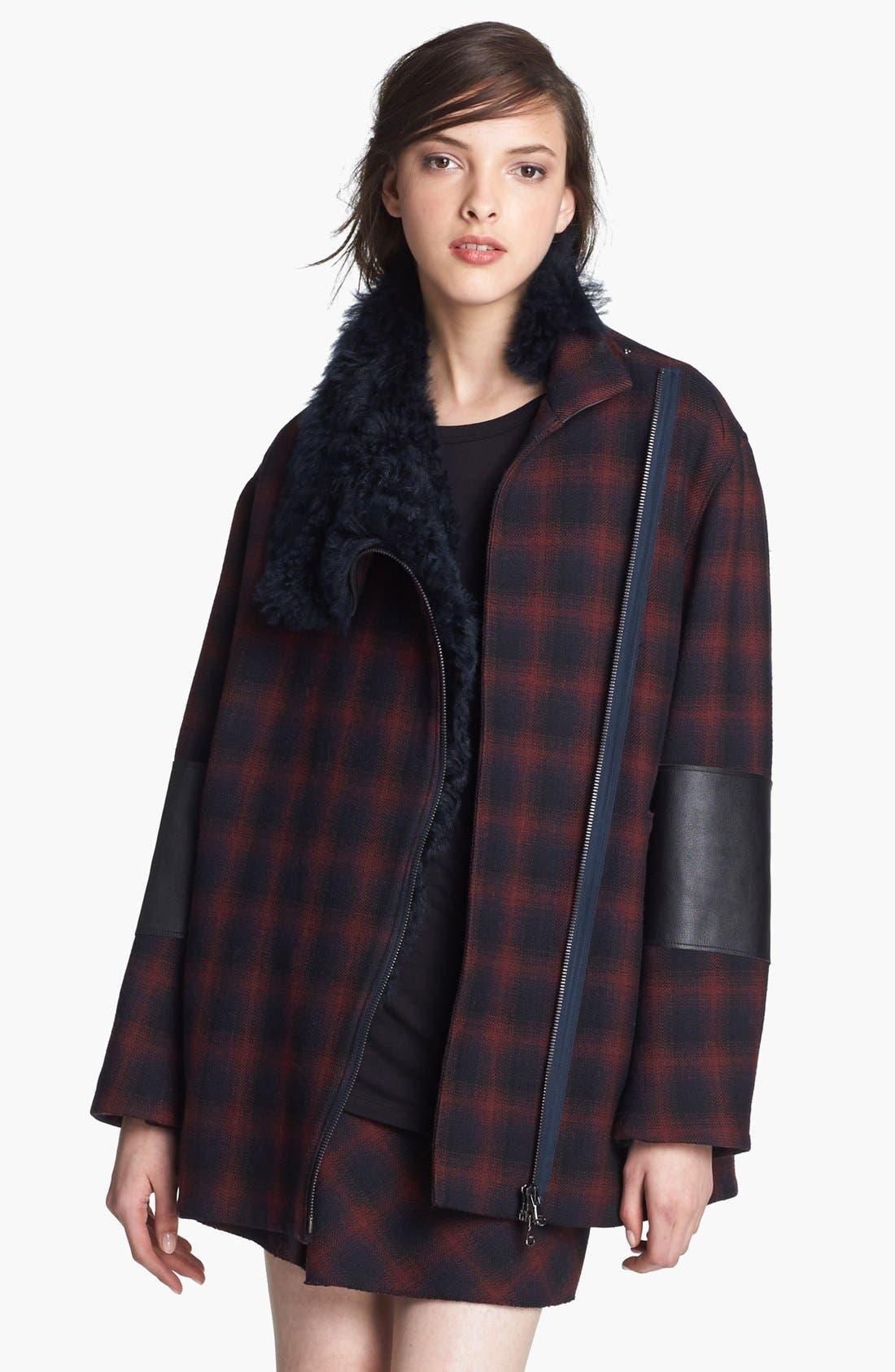Main Image - 3.1 Phillip Lim Plaid Jacket with Genuine Lamb Fur Trim