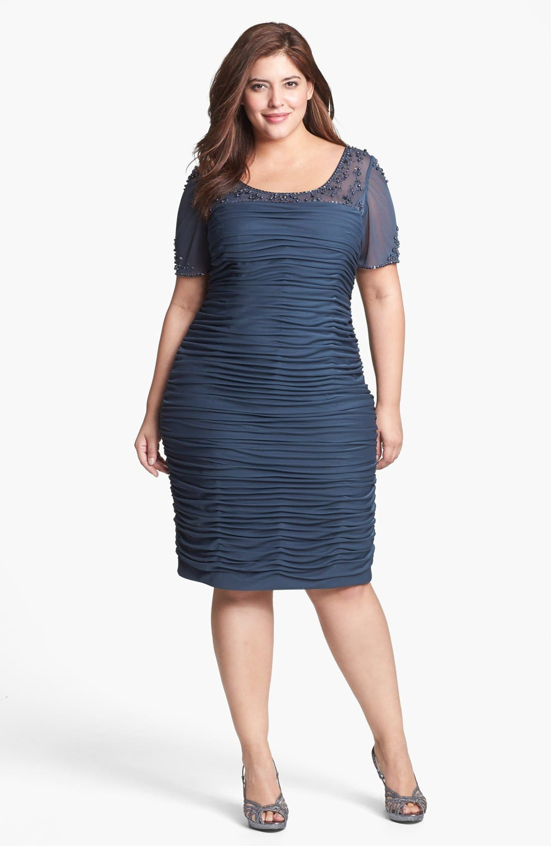 Alternate Image 1 Selected - Adrianna Papell Beaded Illusion Ruched Dress (Plus Size)