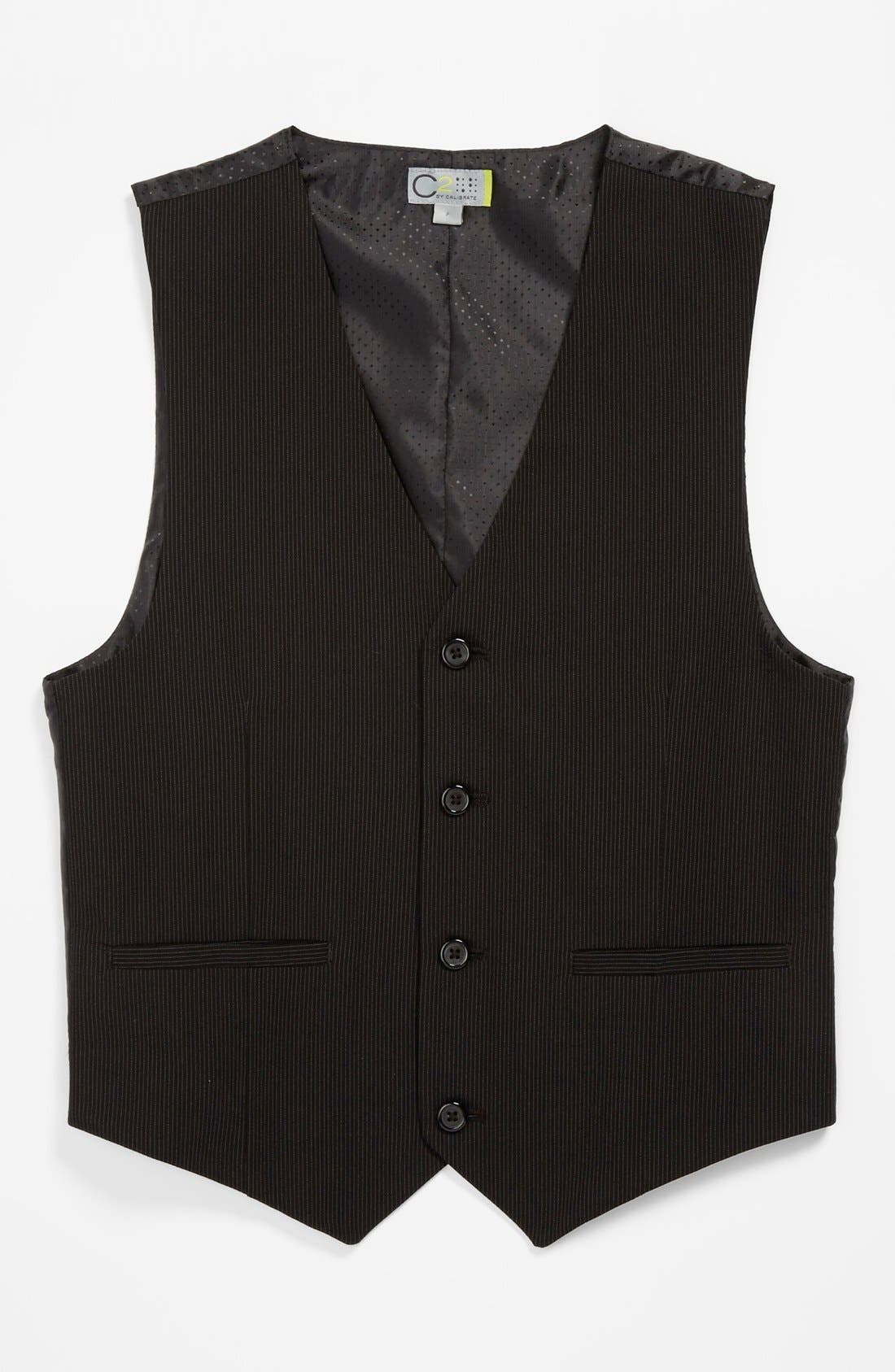 Alternate Image 1 Selected - C2 by Calibrate Pinstripe Vest (Big Boys)