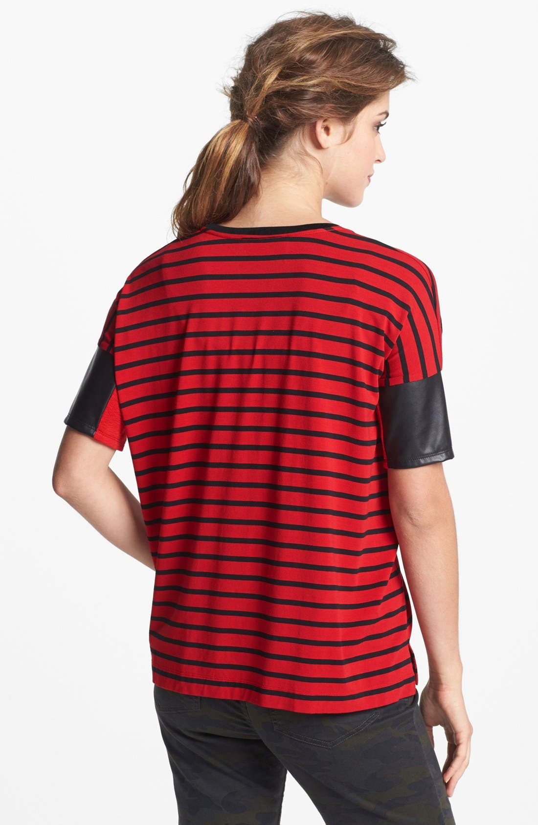 Alternate Image 2  - Two by Vince Camuto Faux Leather Sleeve Stripe Tee