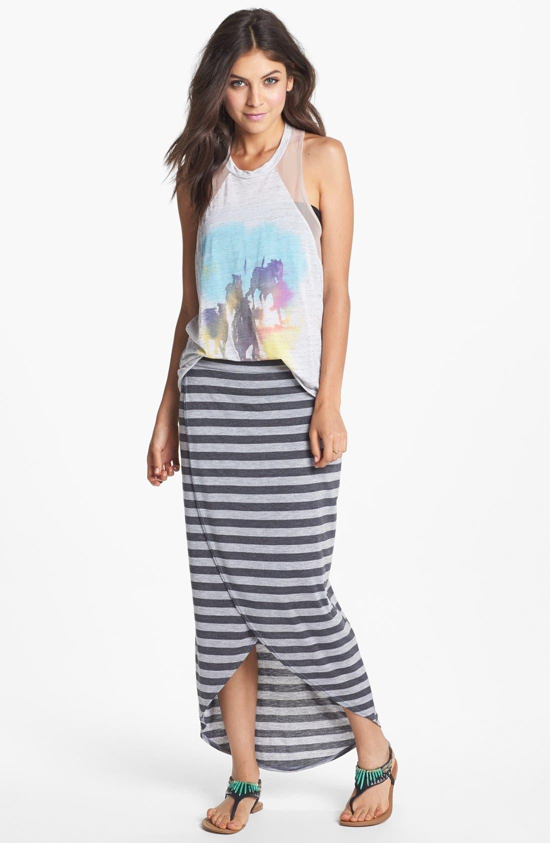 Alternate Image 1 Selected - h.i.p. High/Low Stripe Wrap Skirt (Juniors)