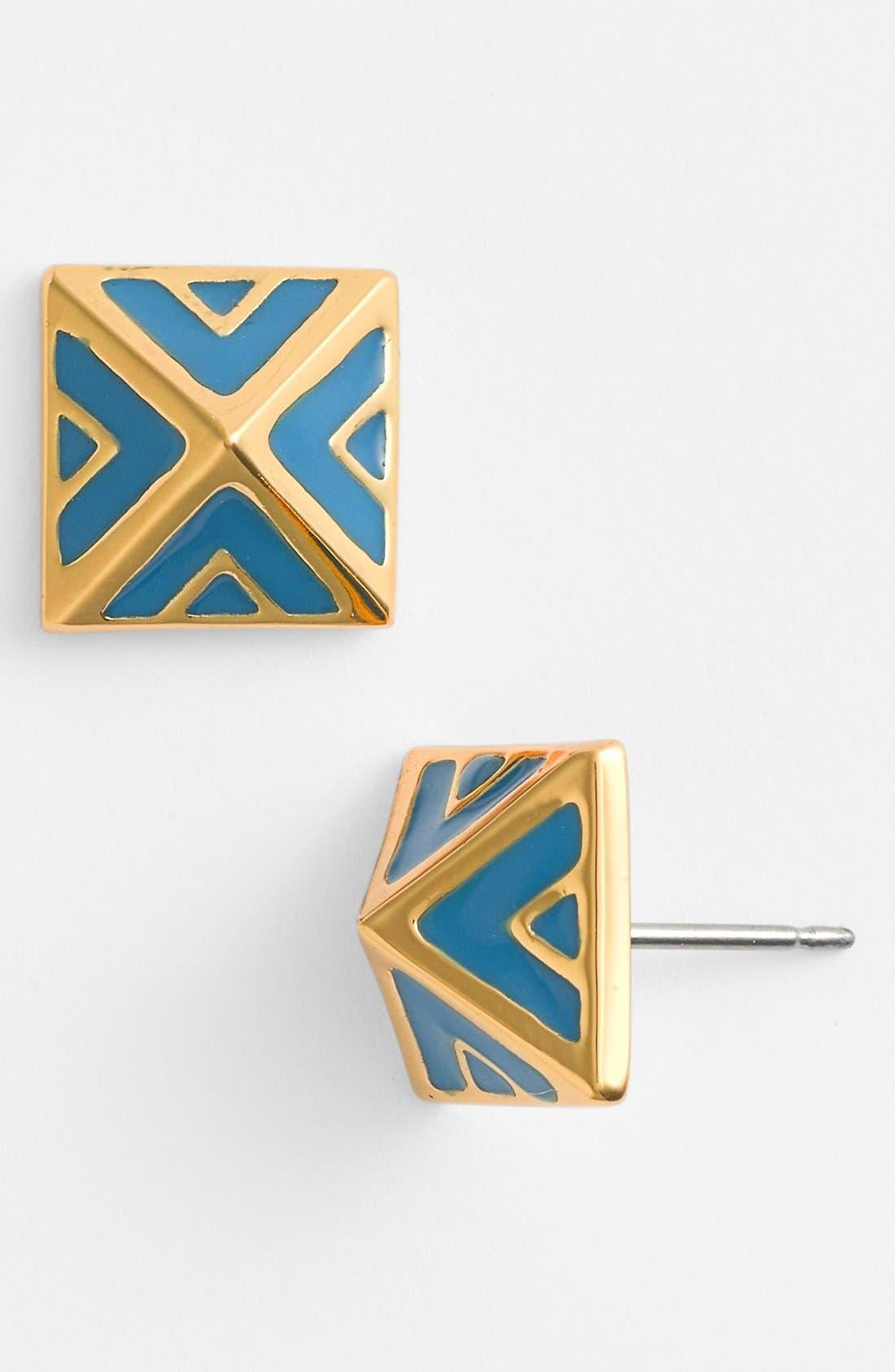 'Micro Geometry' Enamel Pyramid Stud Earrings,                             Main thumbnail 1, color,                             Peacock Blue/ Gold
