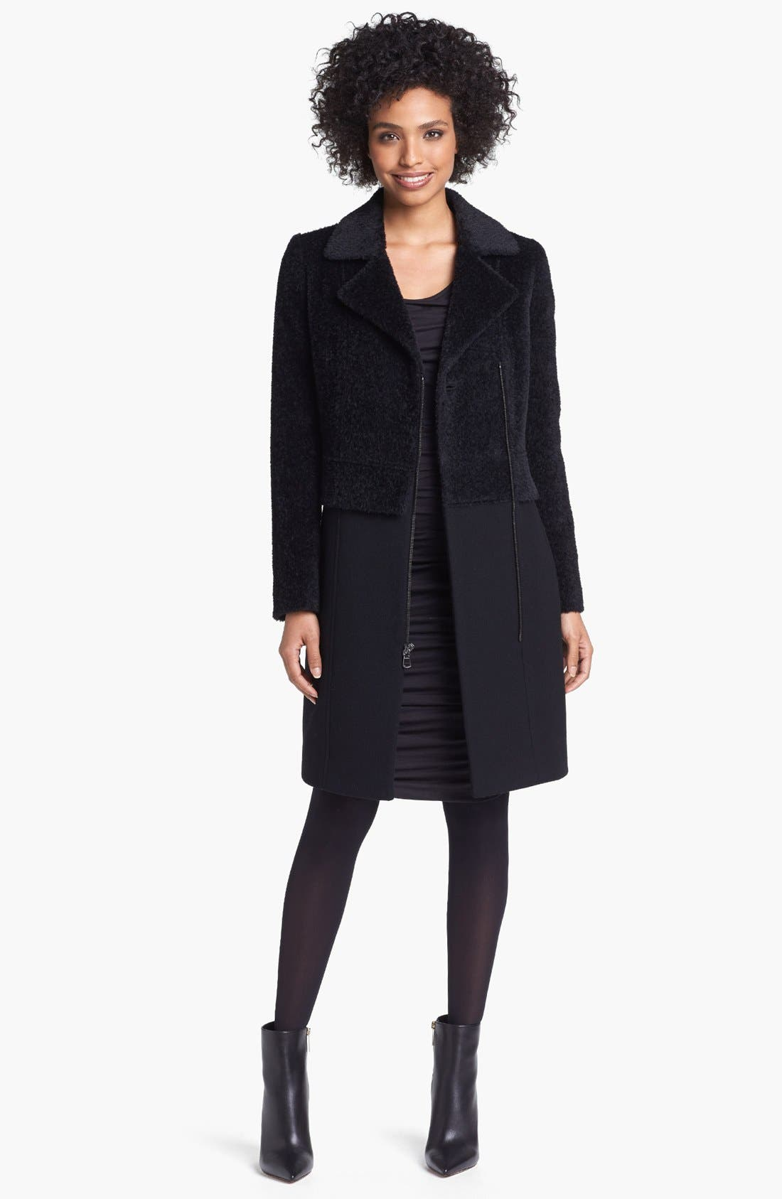 Alternate Image 1 Selected - Trina Turk Asymmetrical Sheared Alpaca & Wool Blend Coat