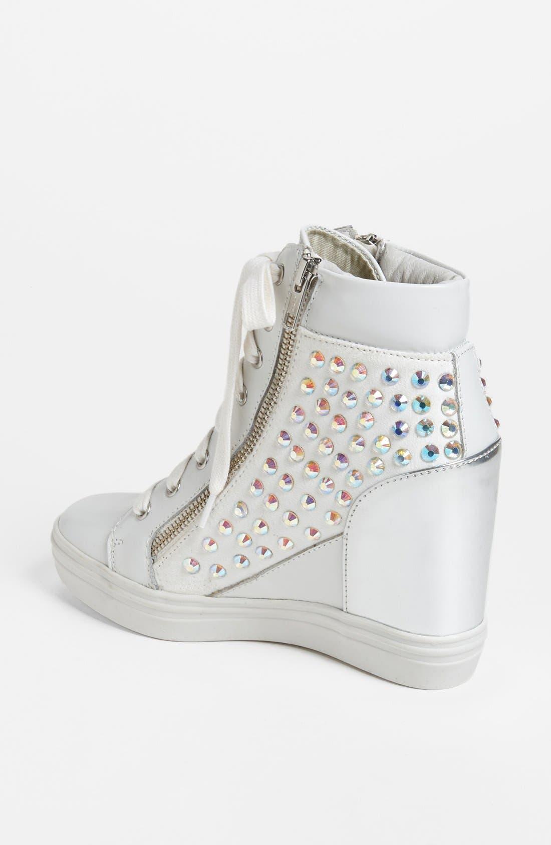 'Zipps' Wedge Sneaker,                             Alternate thumbnail 2, color,                             White Multi