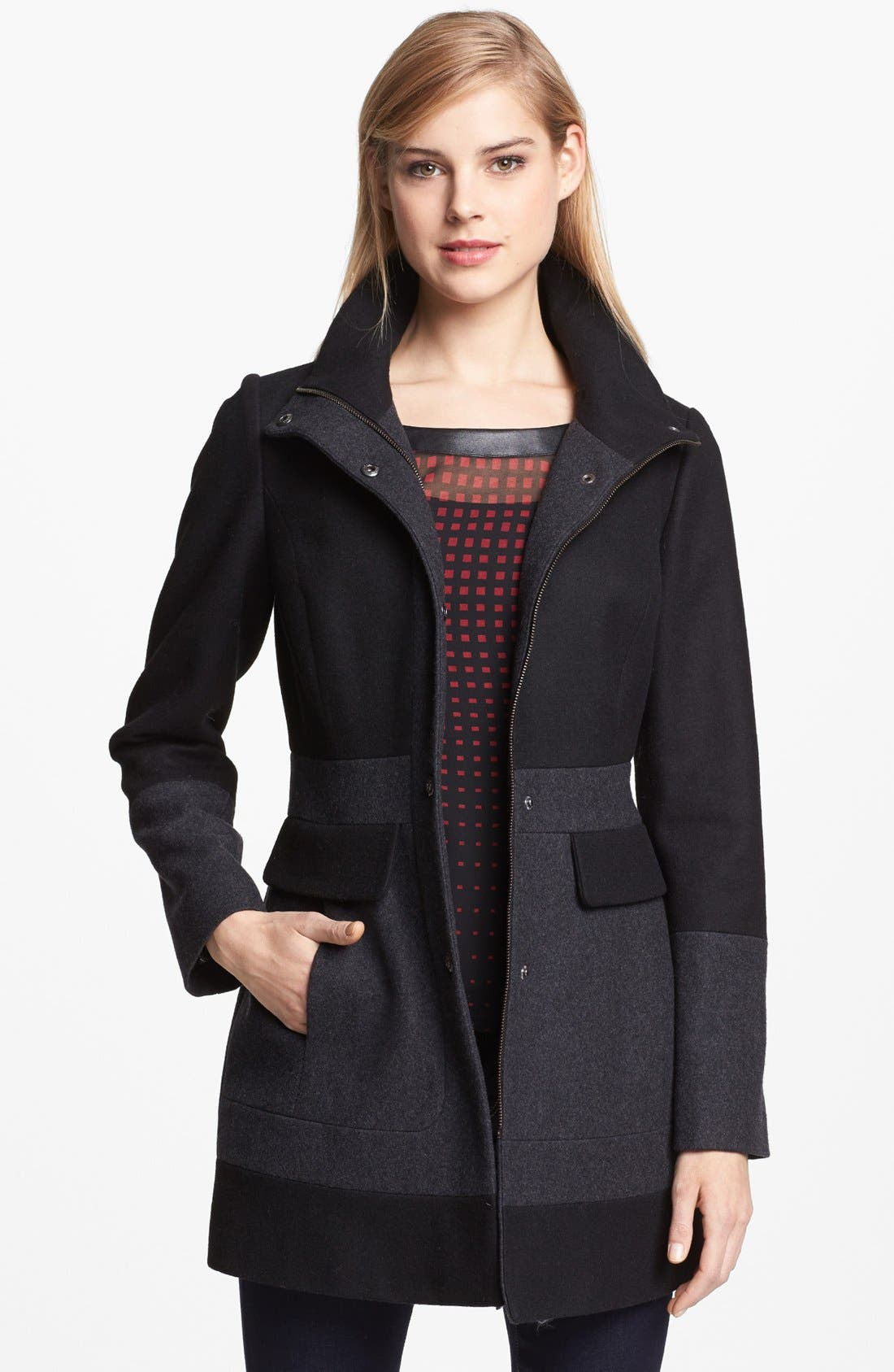 Main Image - GUESS Two Tone Wool Blend Coat (Online Only)